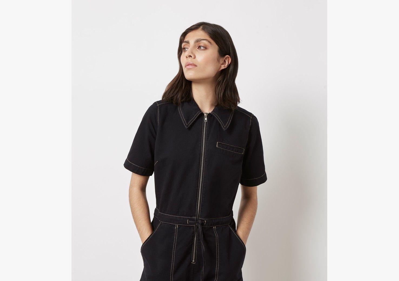Emmy Black Denim Boilersuit - Black