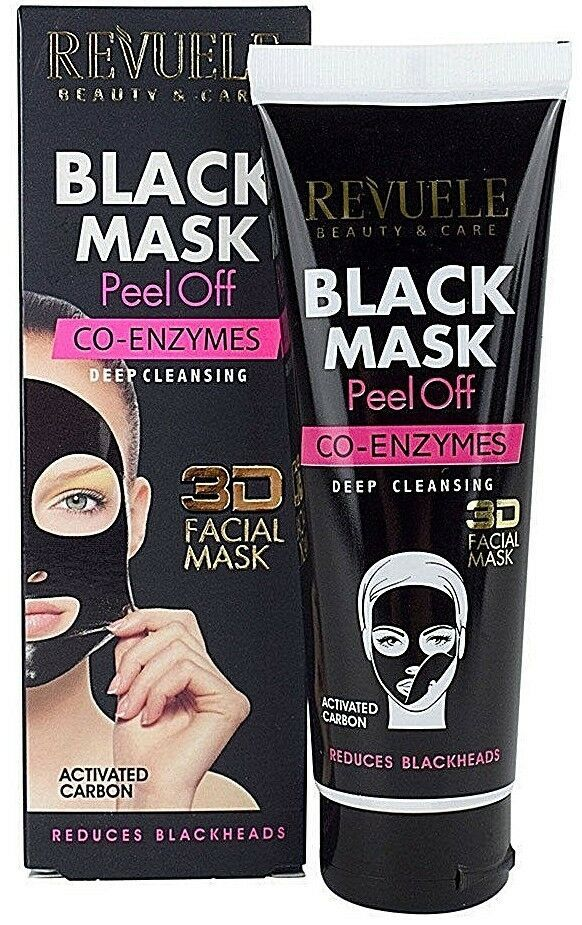 Revuele Peel Off 3D Black Face Mask CO-ENZYMES Facial Cleaner Blackhead Remover - Pack of 2
