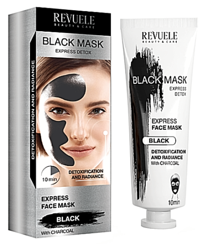Revuele Black Express Detox Deep Cleansing Instant Action Charcoal Face Mask - Pack of 2