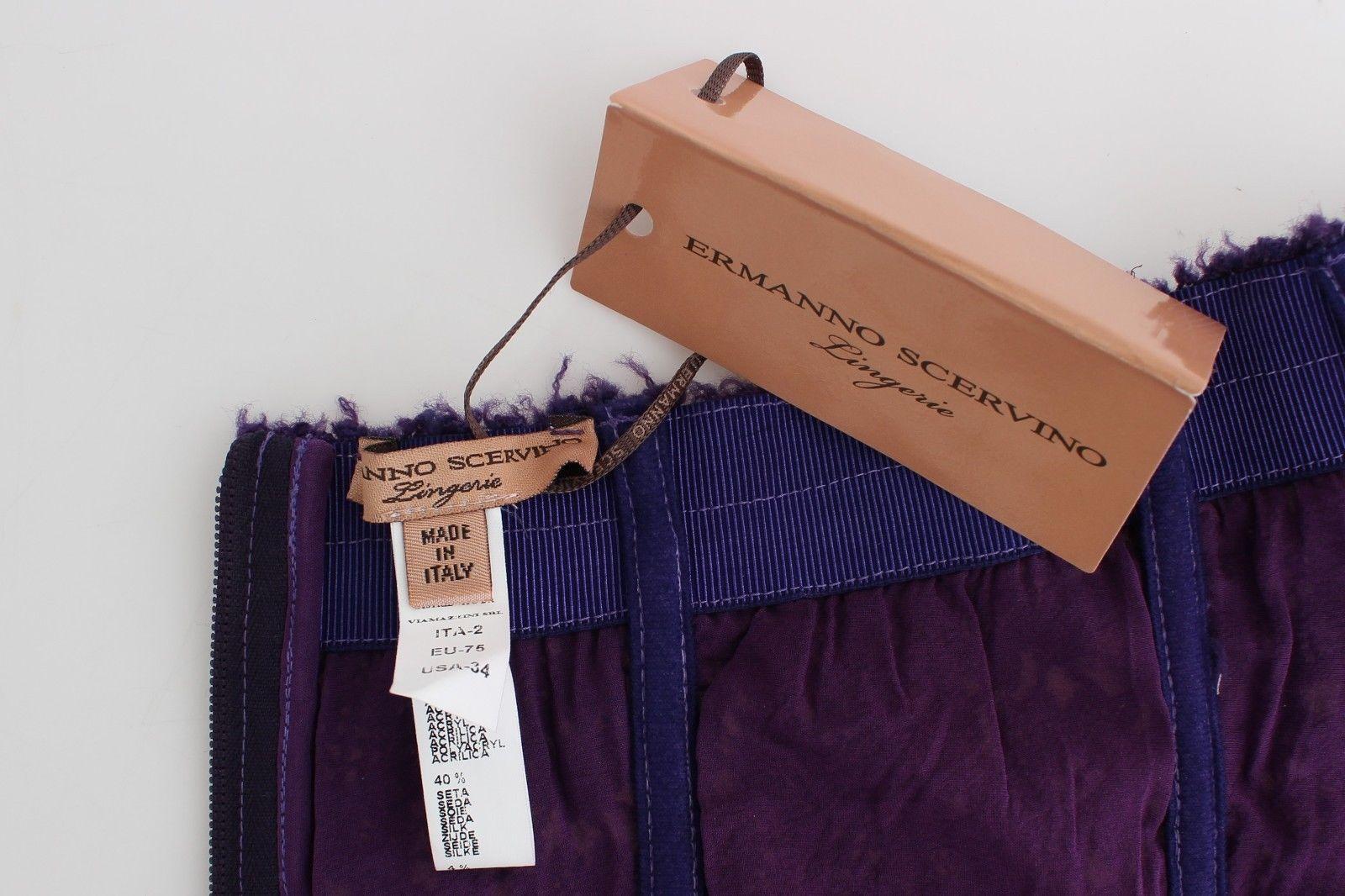 Ermanno Scervino Lingerie Purple Corset Bustier Top Floral Lace