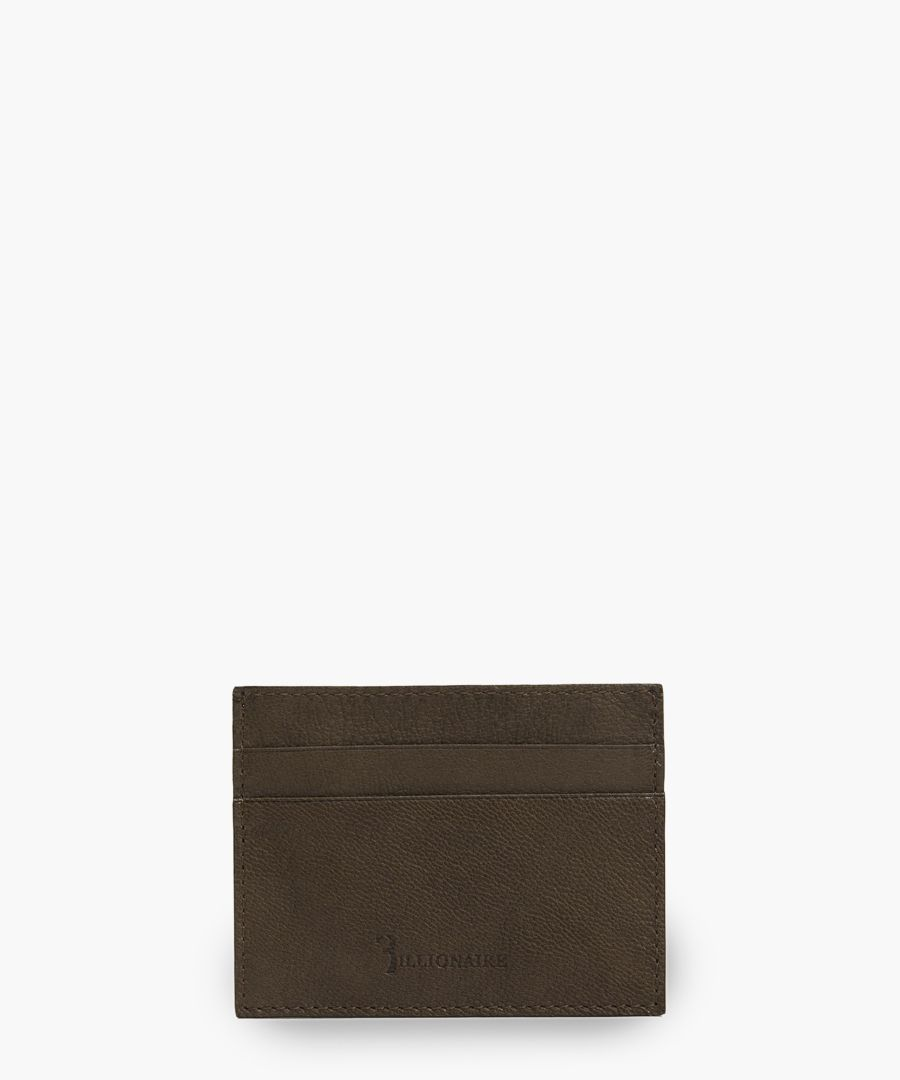 Brown embossed logo card holder