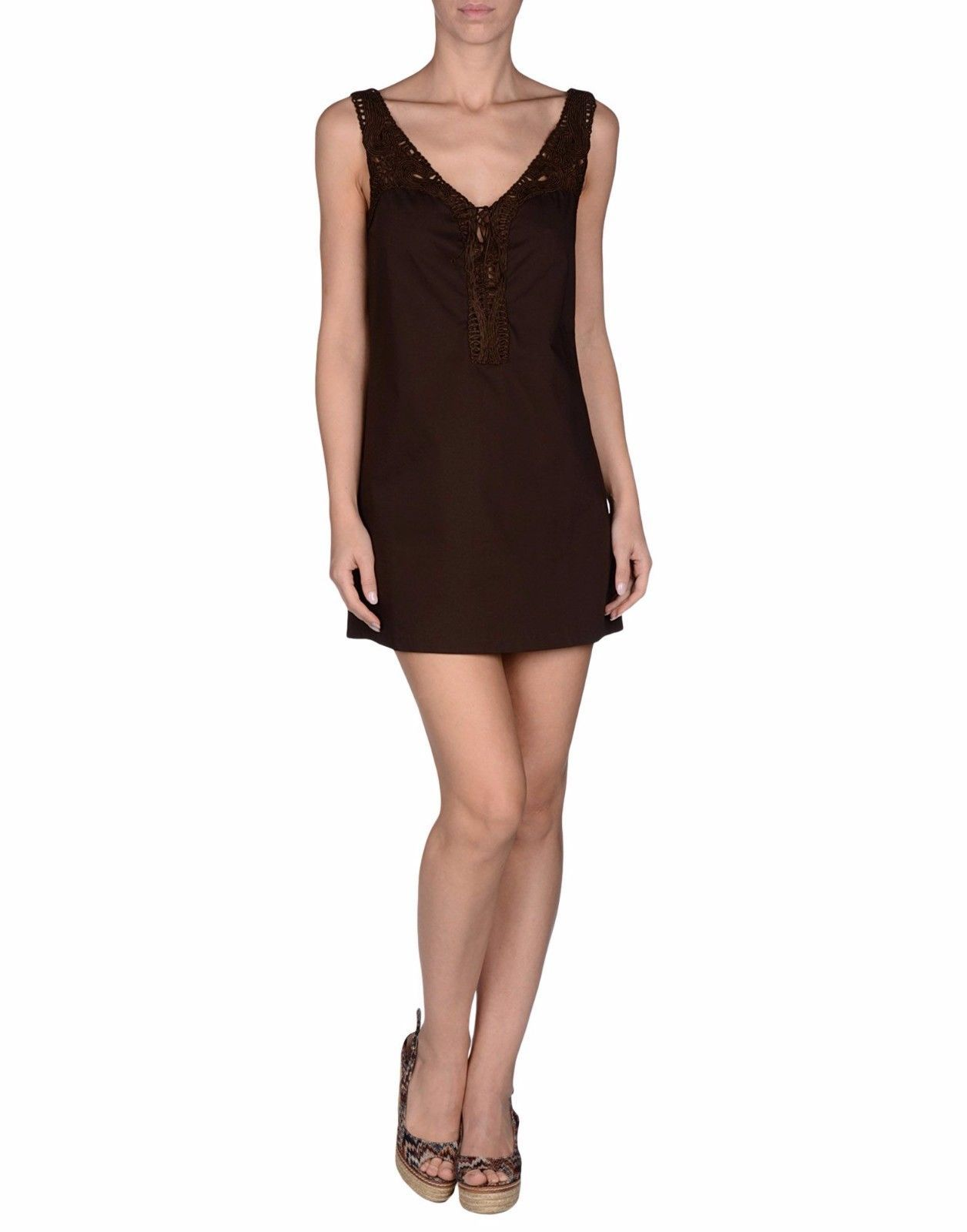 Ermanno Scervino Beachwear Brown Cotton Stretch Tunic Dress