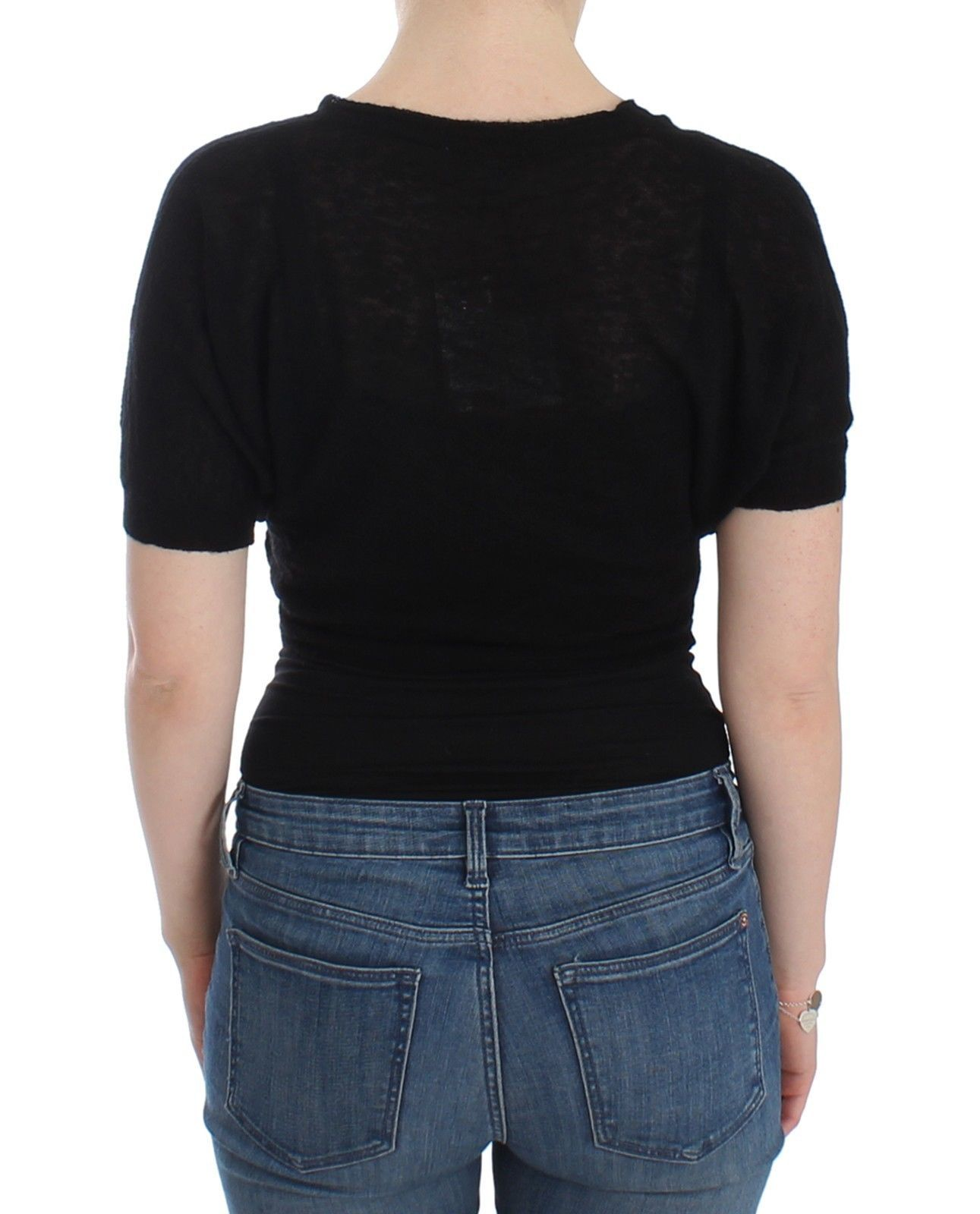 Ermanno Scervino Lingerie Knit Black Wool Sweater Cardigan