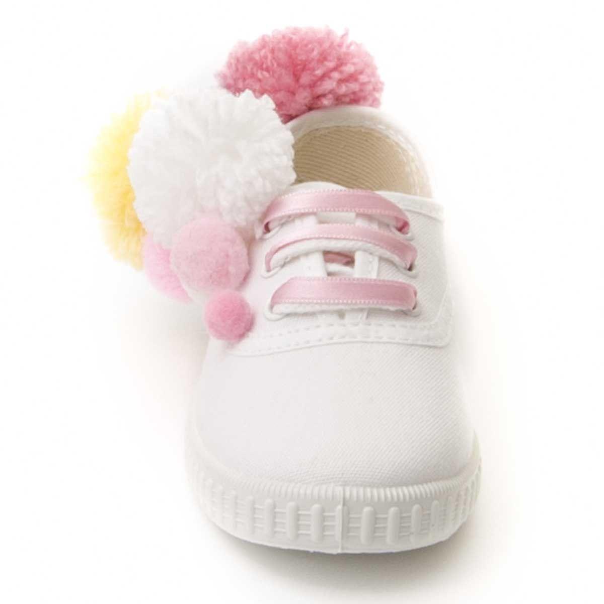 Maria Graor Pom Pom Sneaker in White