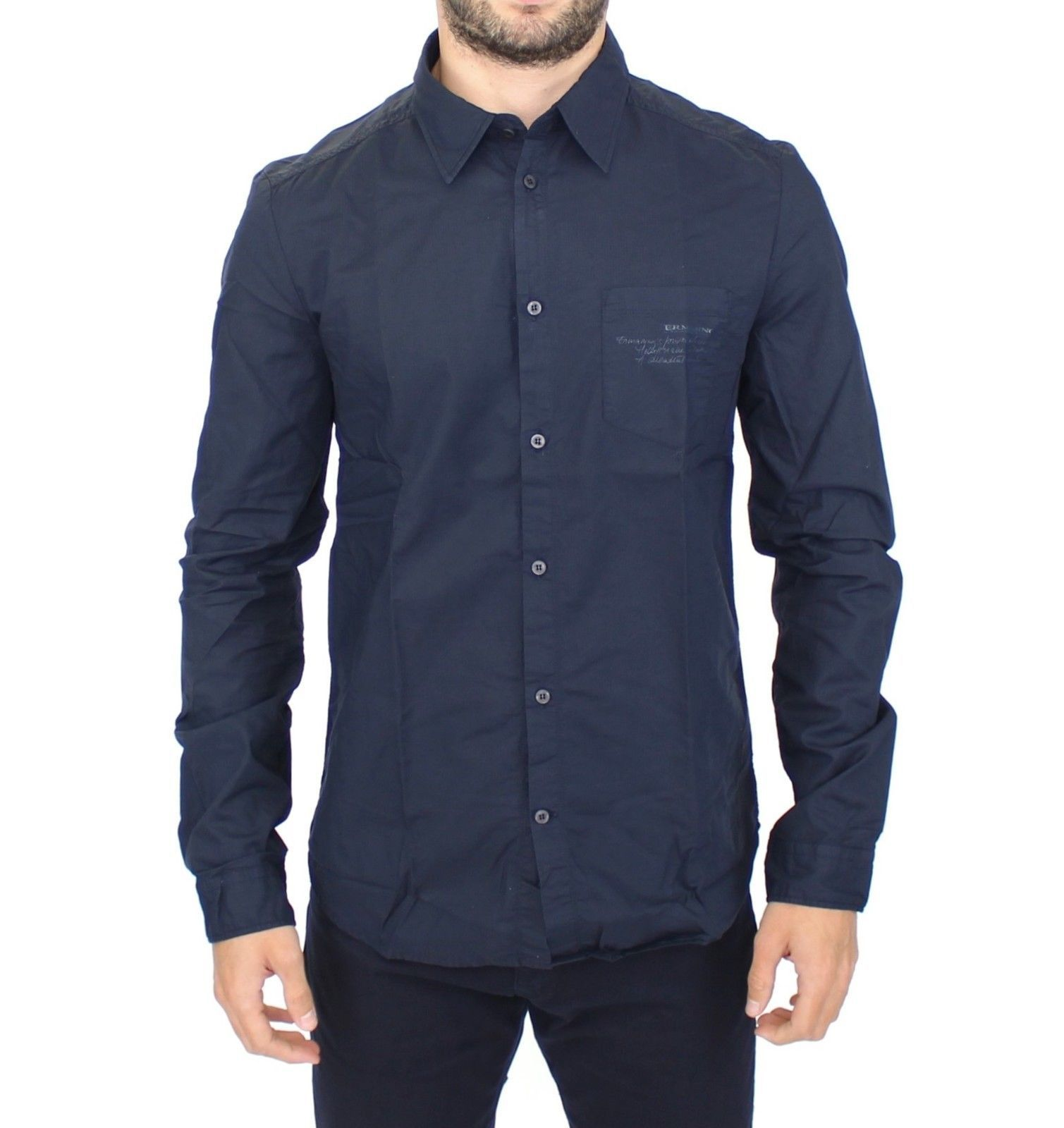 Ermanno Scervino Blue Cotton Casual Long Sleeve Shirt Top