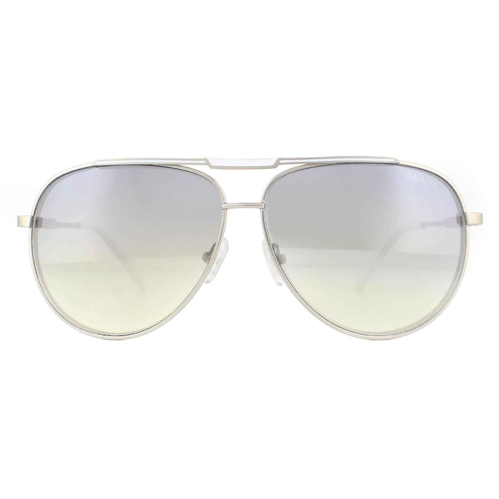 Guess Sunglasses GF5034 10C White Matte Silver Grey Gradient Silver Mirror