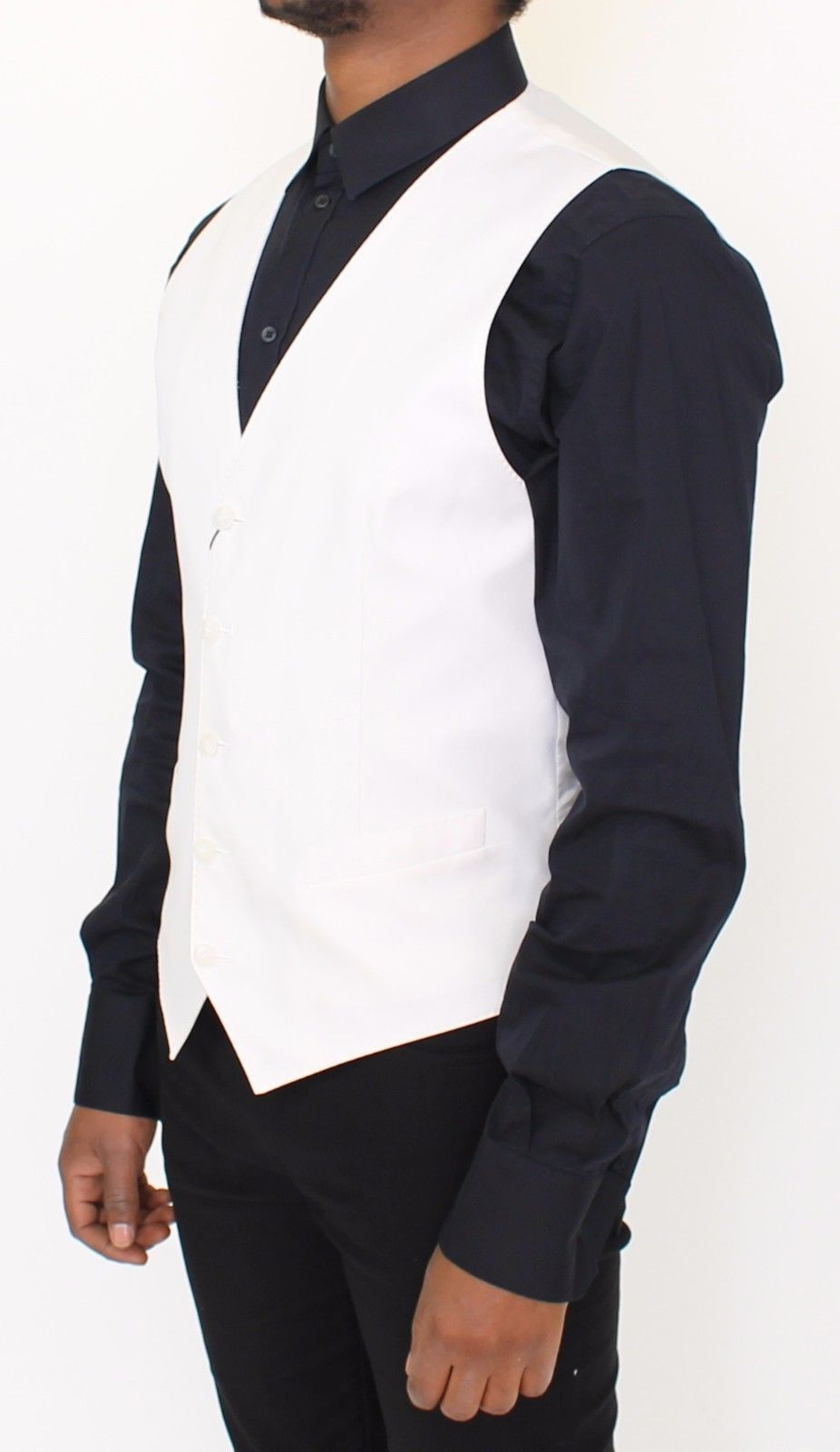 Dolce & Gabbana White Cotton Silk Blend Dress Vest Blazer