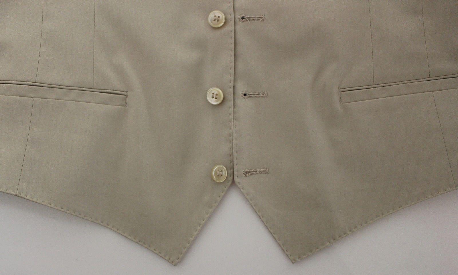 Dolce & Gabbana Beige Cotton Stretch Dress Vest Blazer