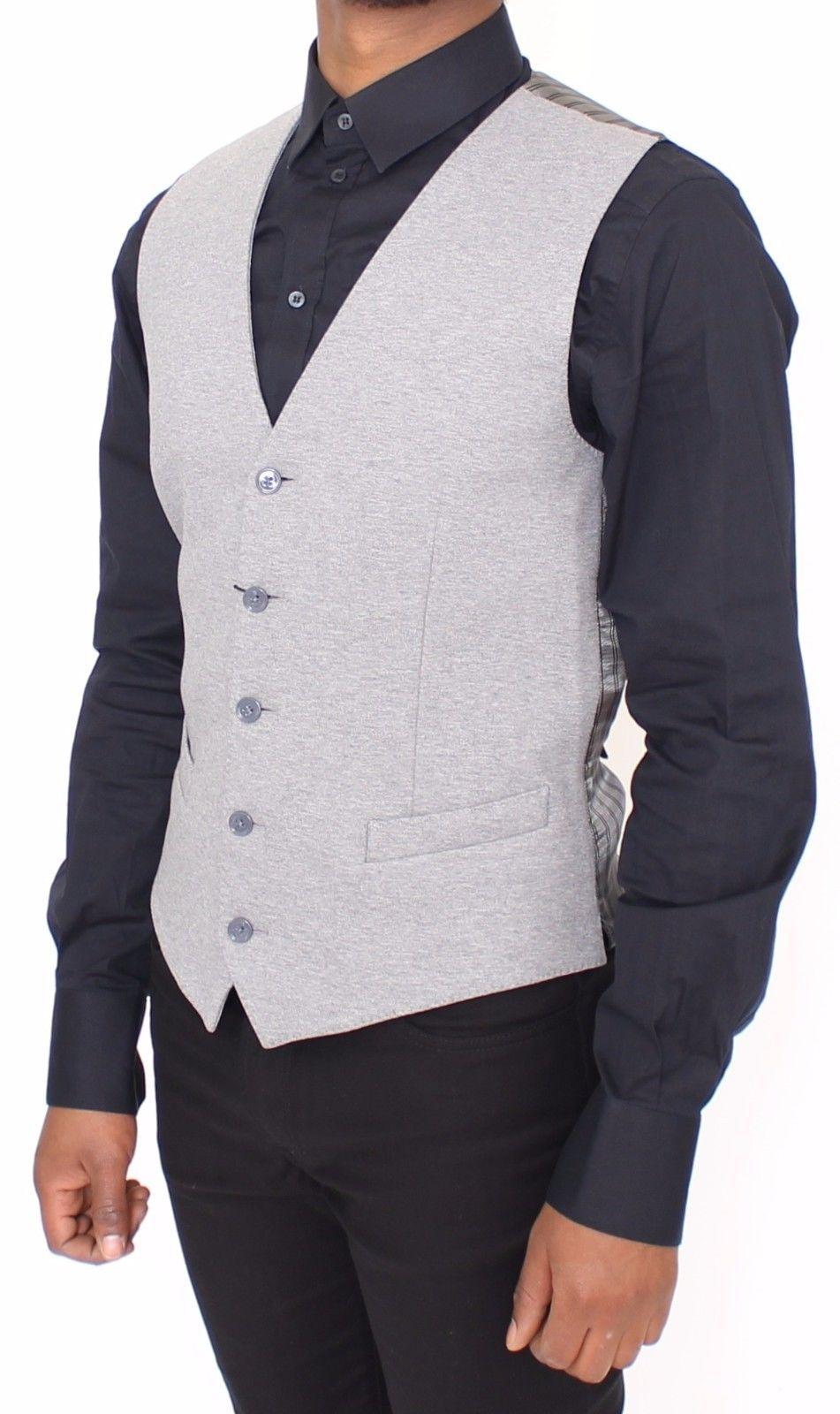 Dolce & Gabbana Gray Cotton Stretch Dress Vest Blazer