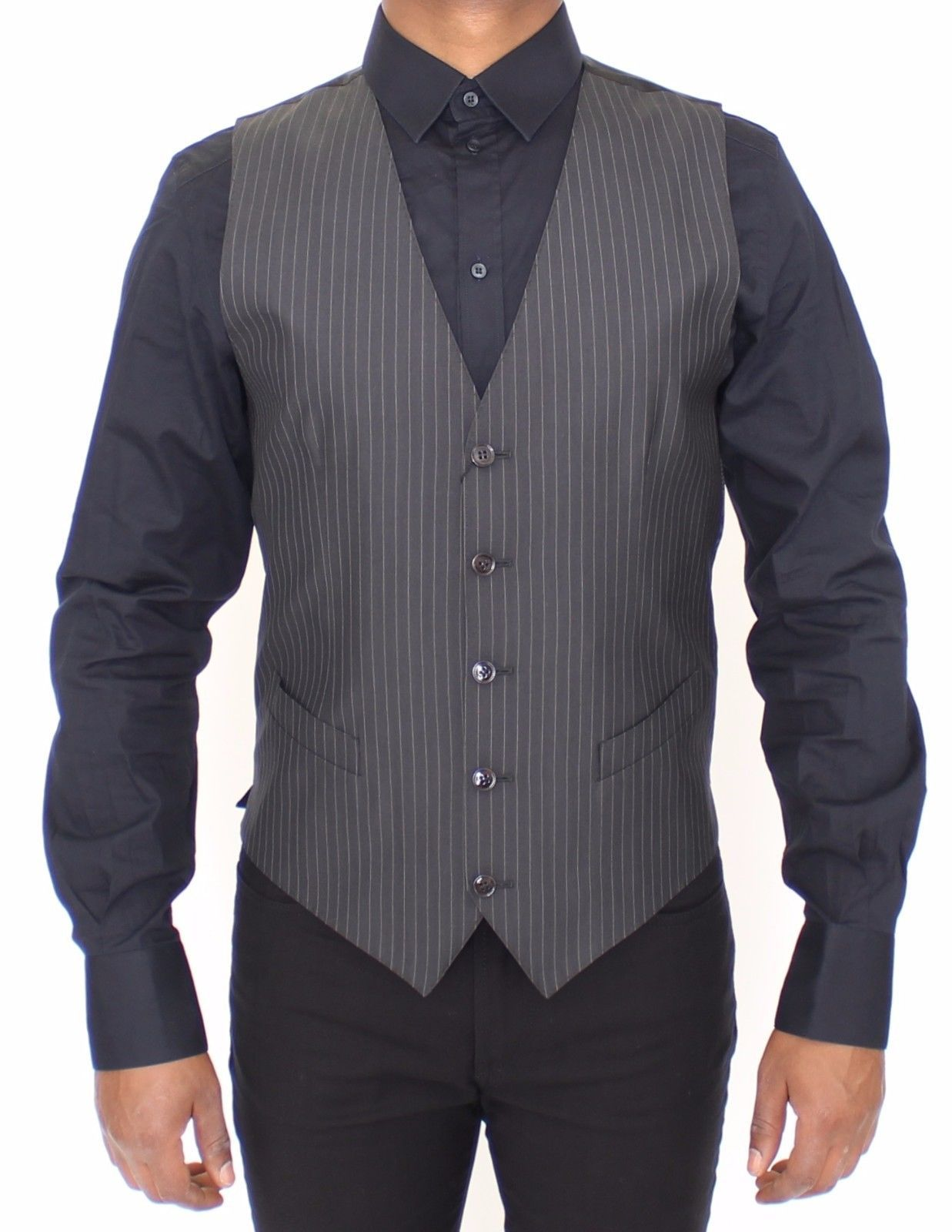 Dolce & Gabbana Gray Striped Wool Silk Dress Vest Gilet