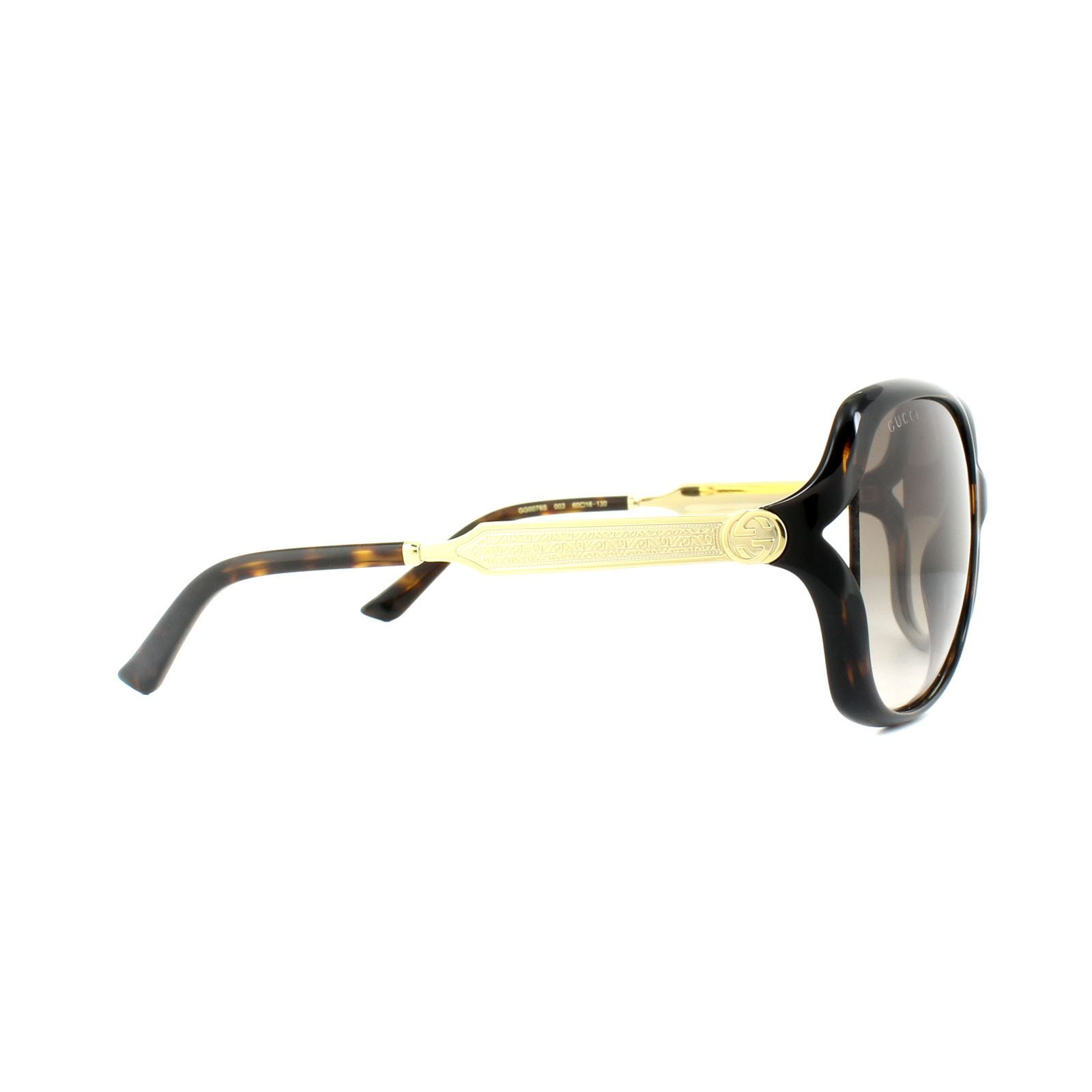 Gucci Sunglasses 0076S 003 Havana Gold Brown Gradient