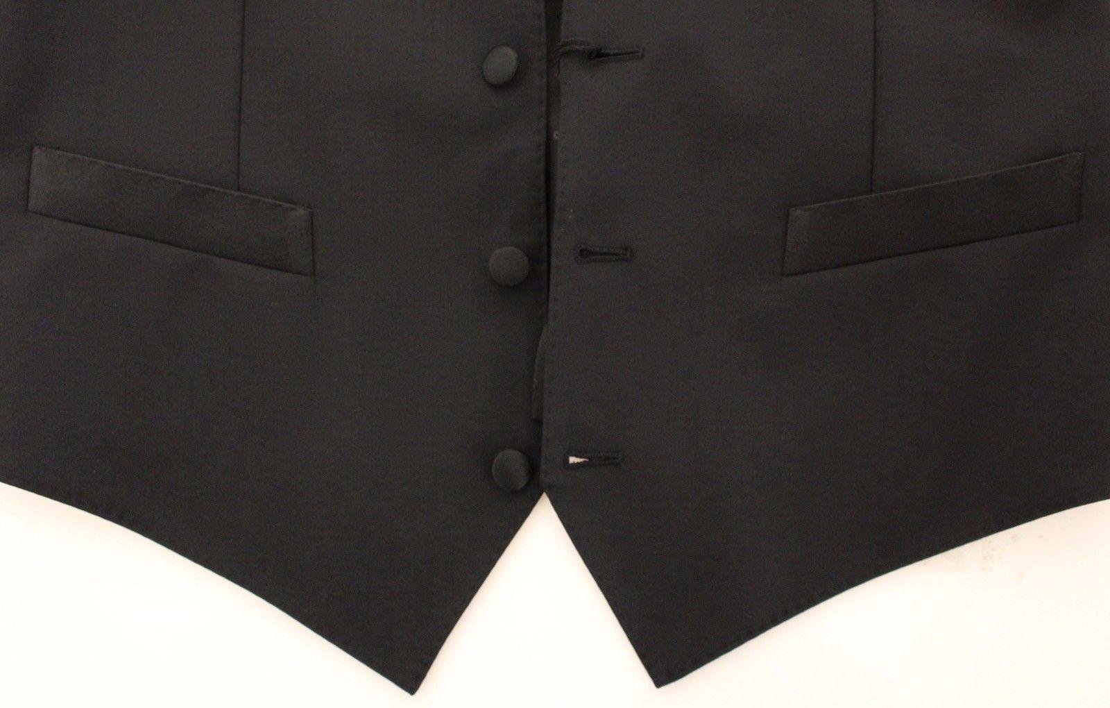 Dolce & Gabbana Black Wool Silk Stretch Dress Vest Blazer