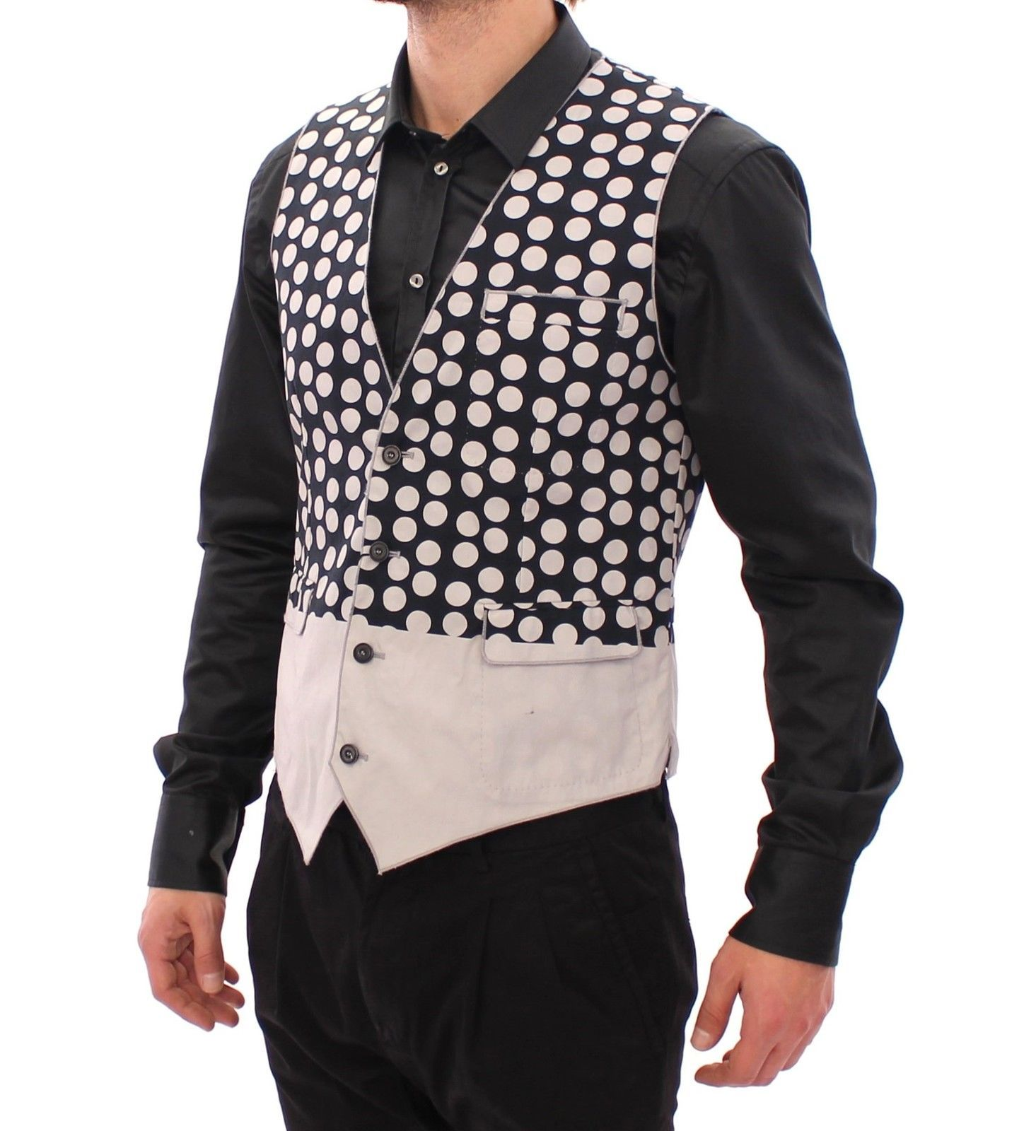 Dolce & Gabbana Blue Polka Dot Dress Vest Gilet Weste