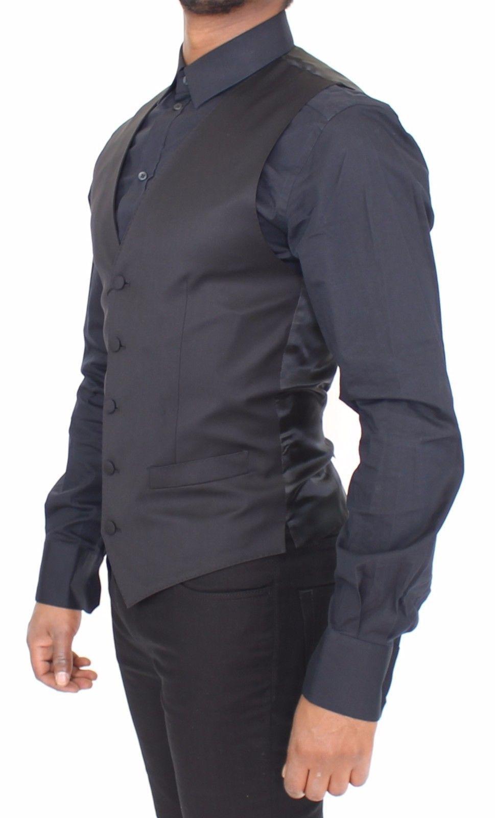 Dolce & Gabbana Black Wool Stretch Formal Dress Vest Gilet