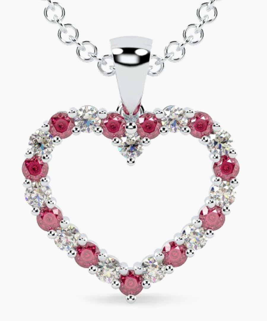 9k white gold 0.60ct ruby heart pendant