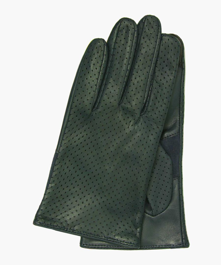 Green nappa leather and silk gloves