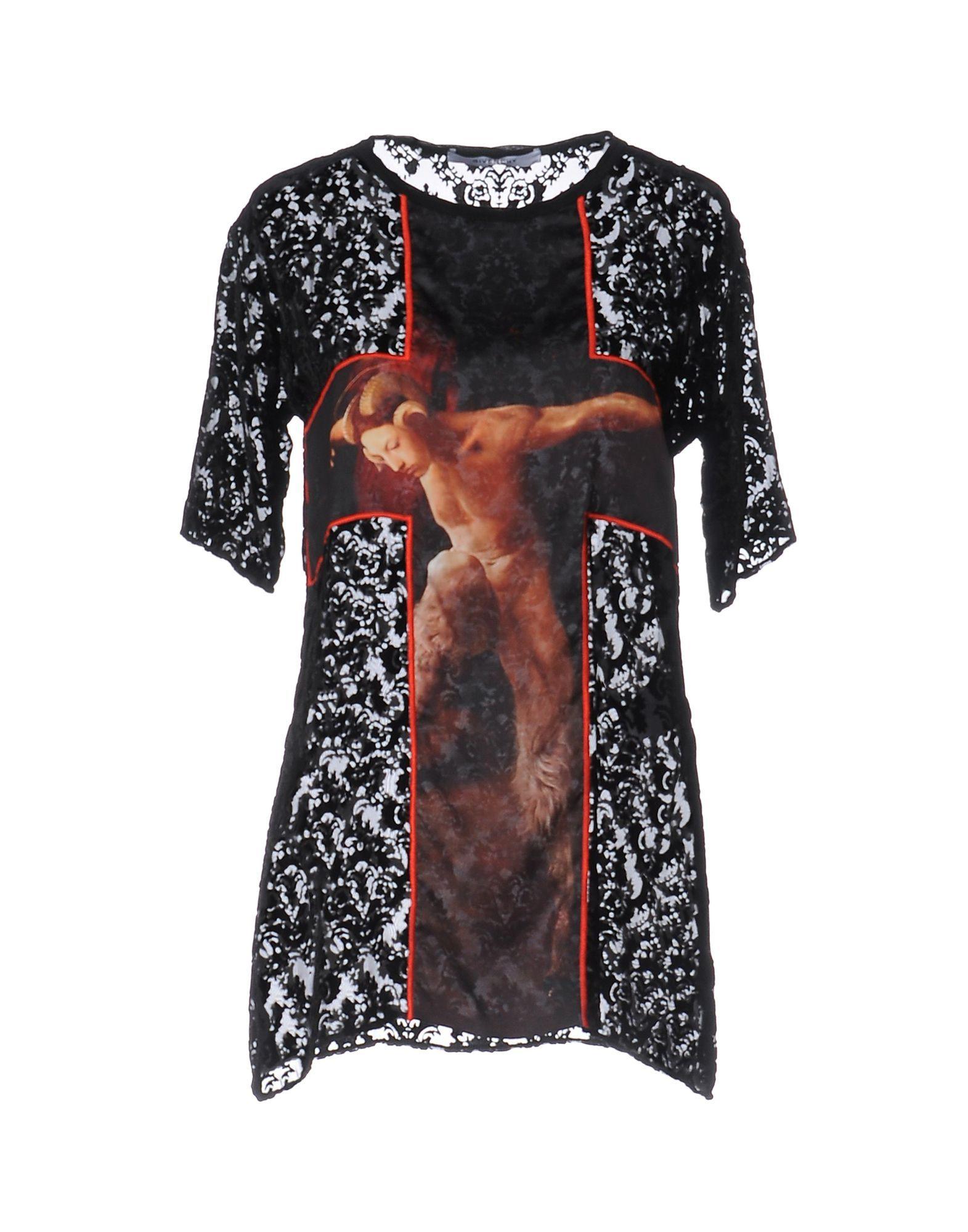 Givenchy Black Lace Short Sleeve T-Shirt