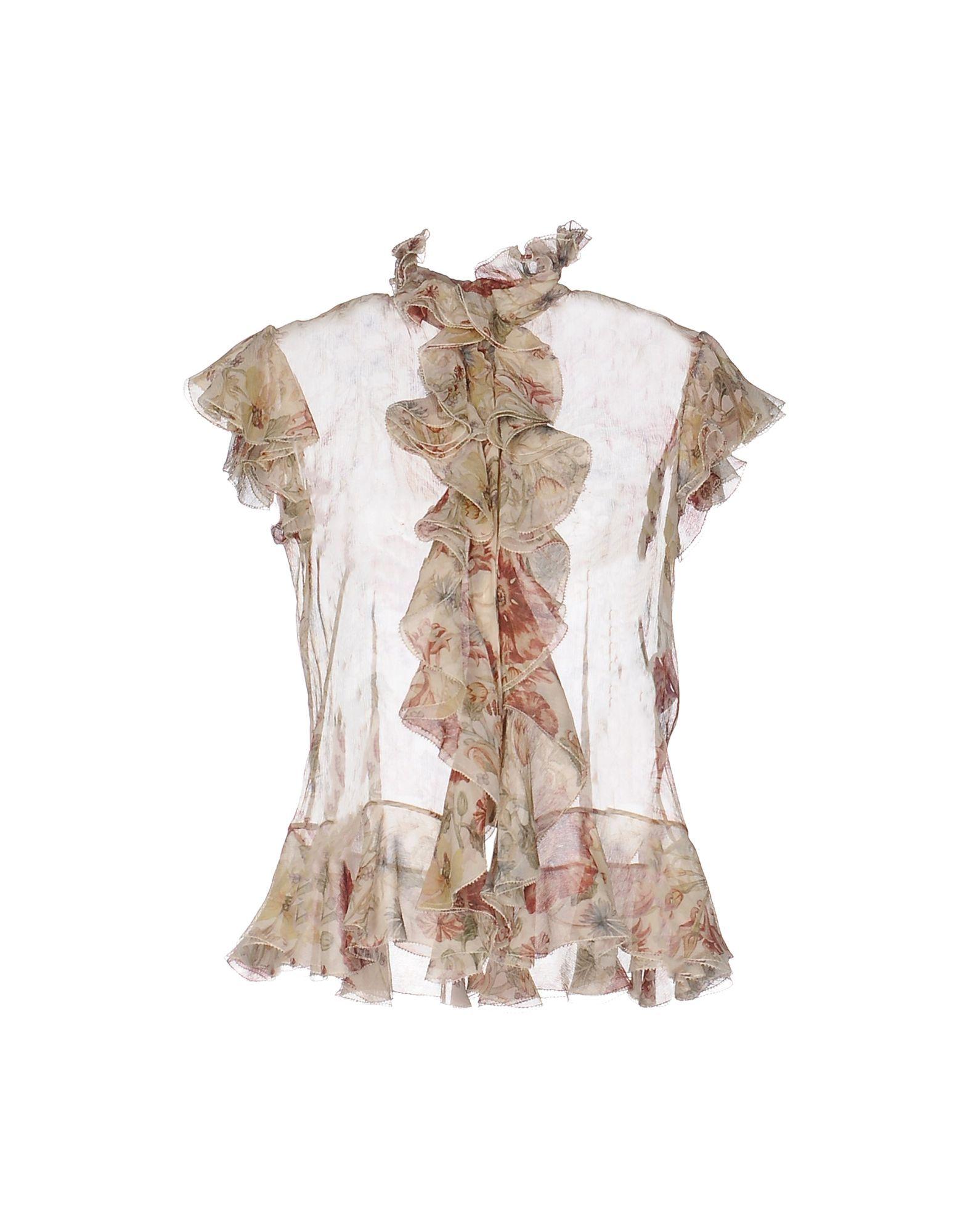 Alexander McQueen Beige Floral Design Silk Blouse