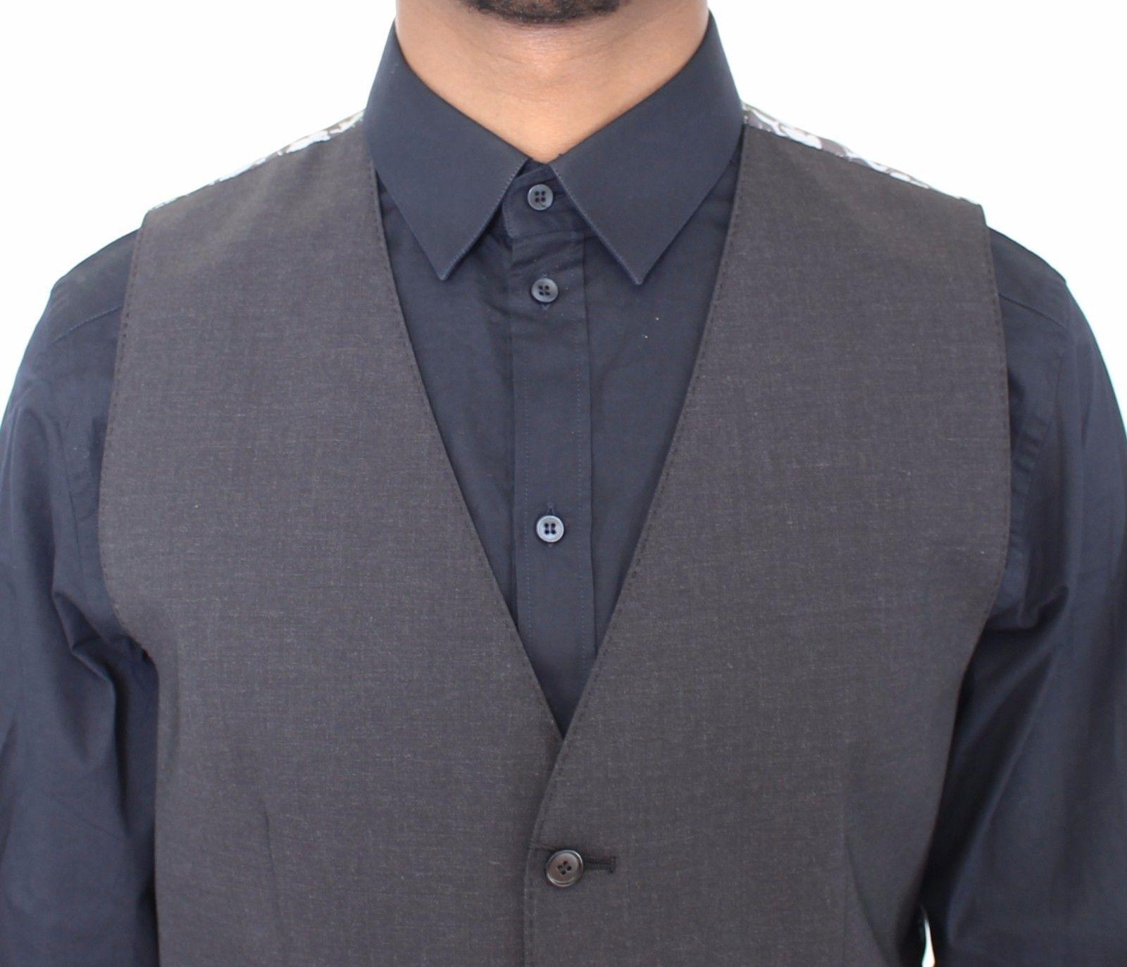 Dolce & Gabbana Gray Wool Stretch Dress Vest Blazer
