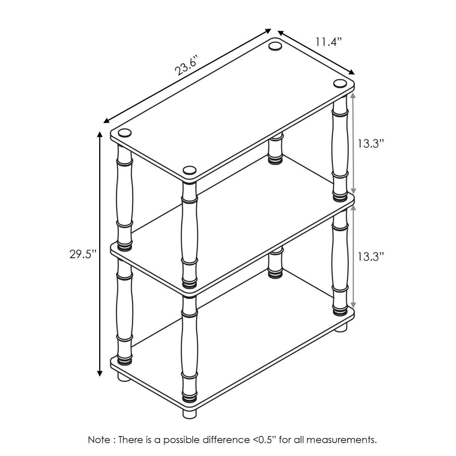 Furinno Turn-N-Tube 3-Tier Compact Multipurpose Shelf Display Rack with Classic Tube, Light Cherry/Black