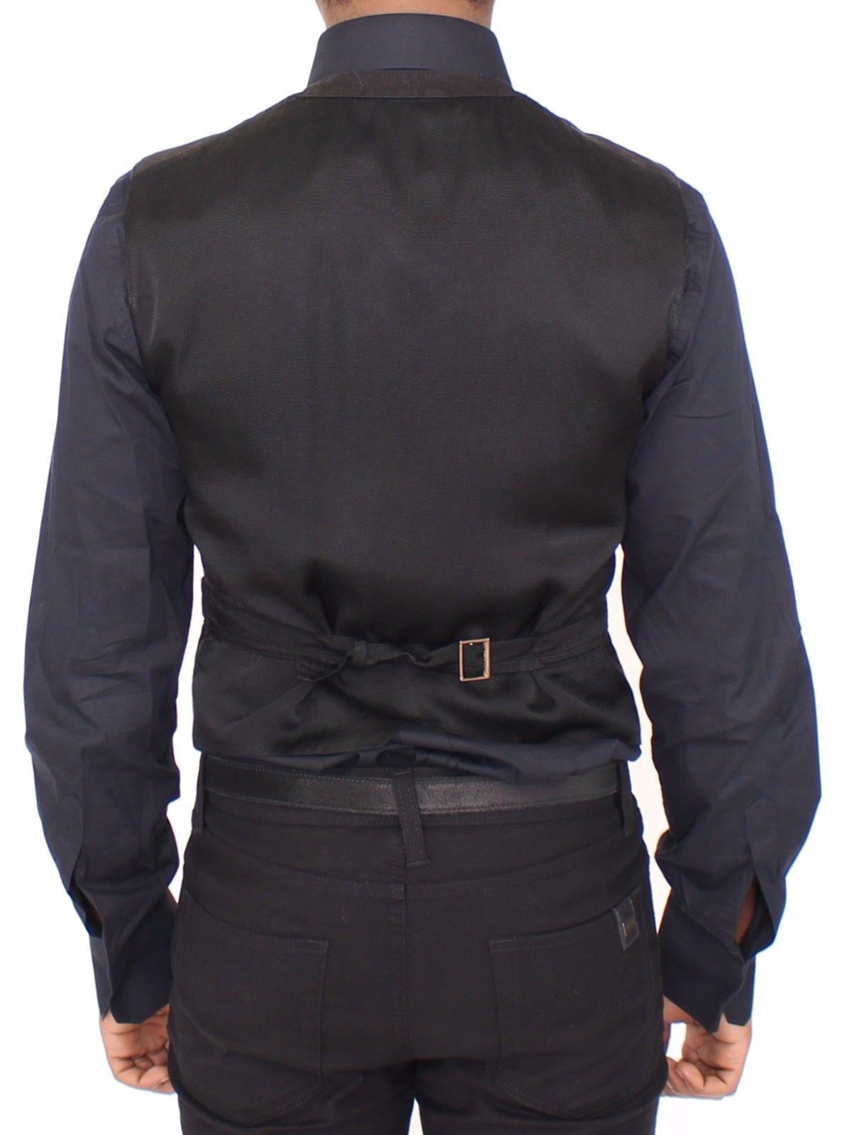 Dolce & Gabbana Black Flax Cotton Dress Vest Blazer