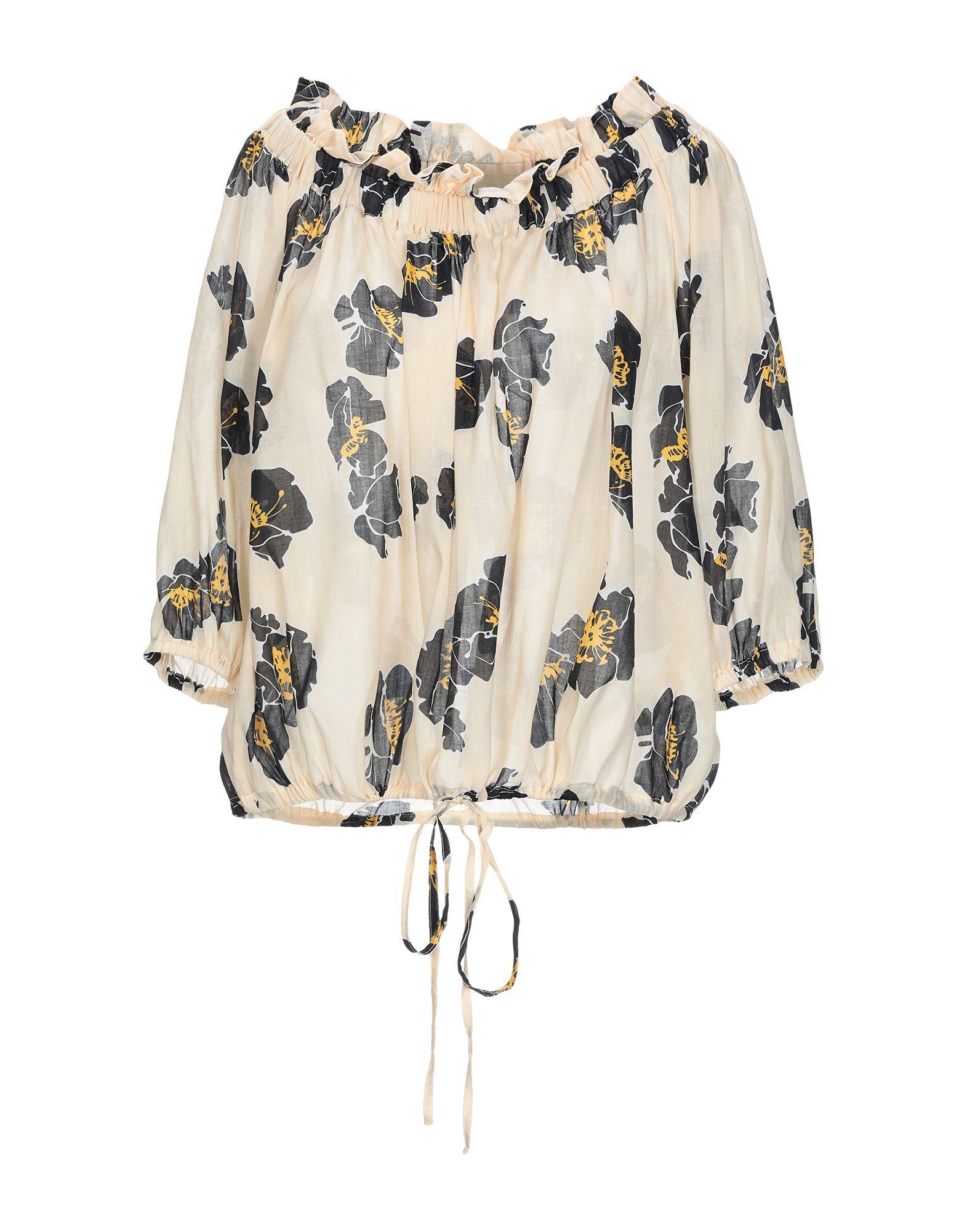 Attic And Barn Light Yellow Floral Print Blouse
