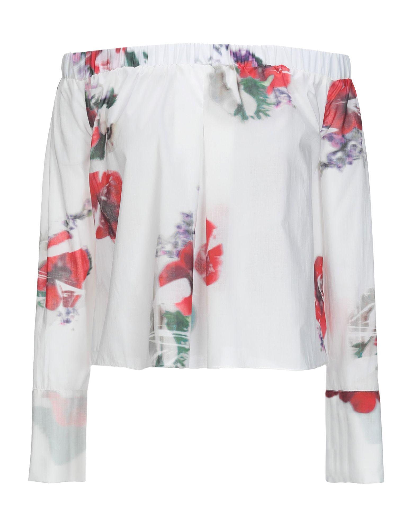 Cacharel White Floral Print Cotton Off The Shoulder Blouse