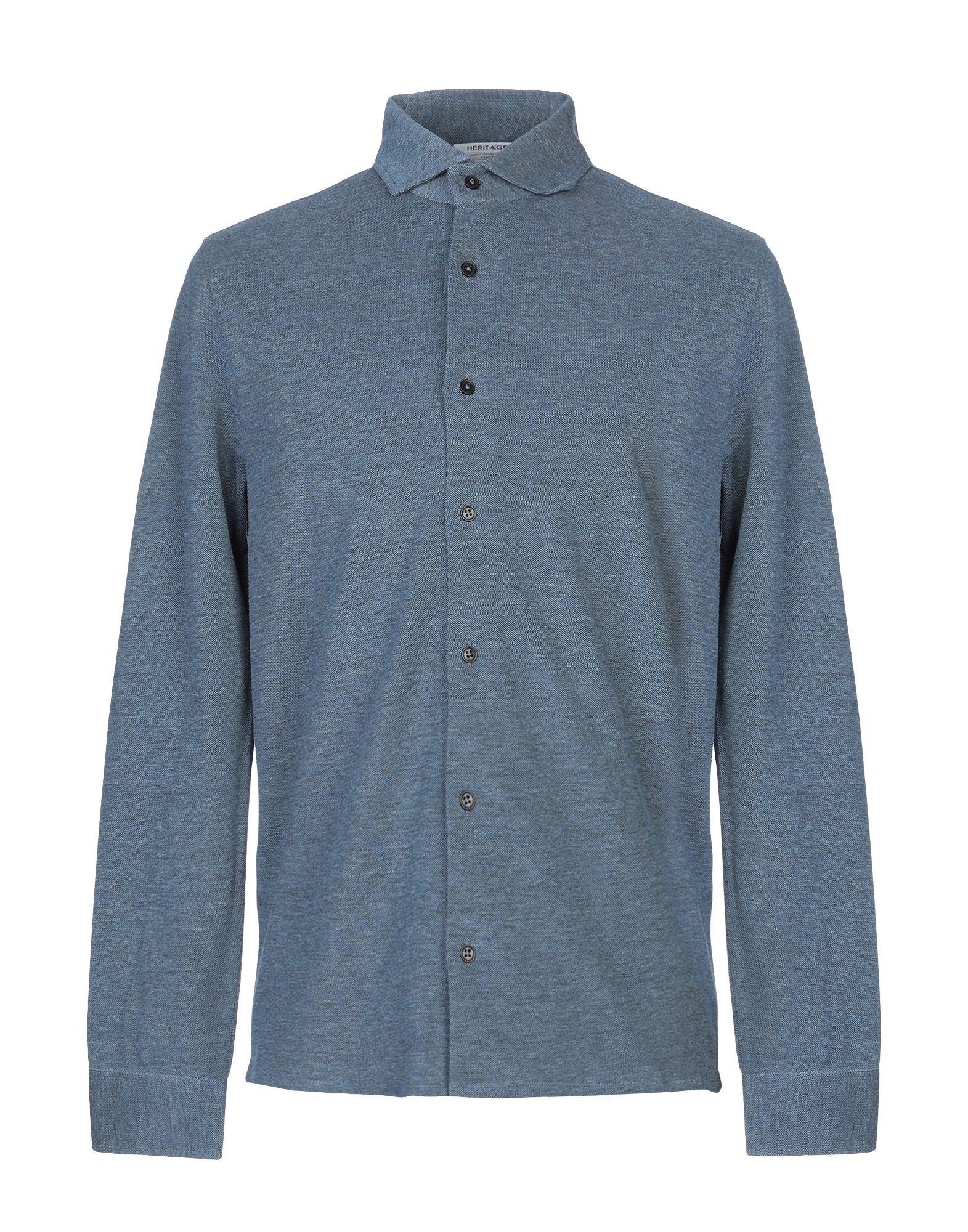 SHIRTS Heritage Slate blue Man Cotton