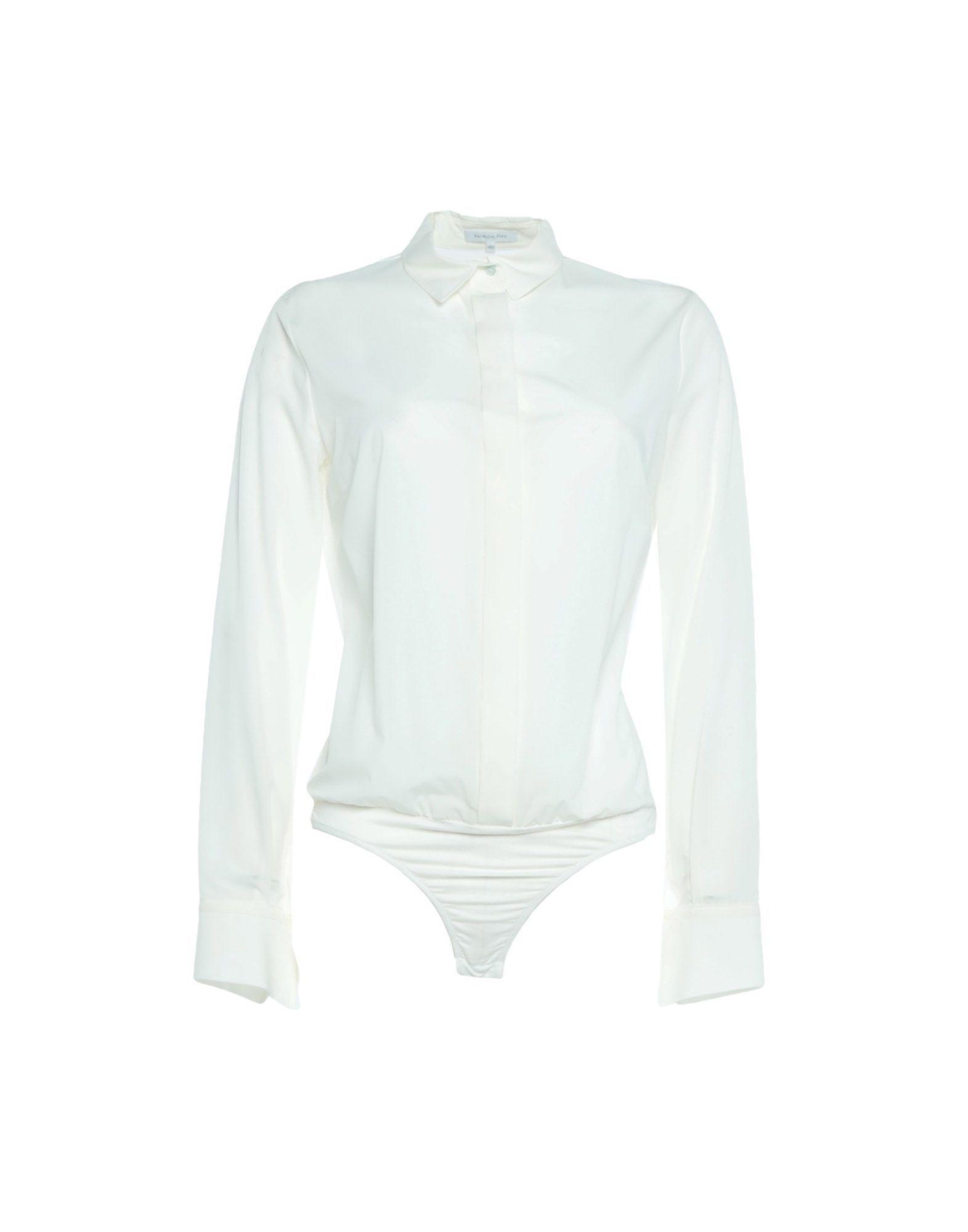 Patrizia Pepe White Satin Blouse Bodysuit