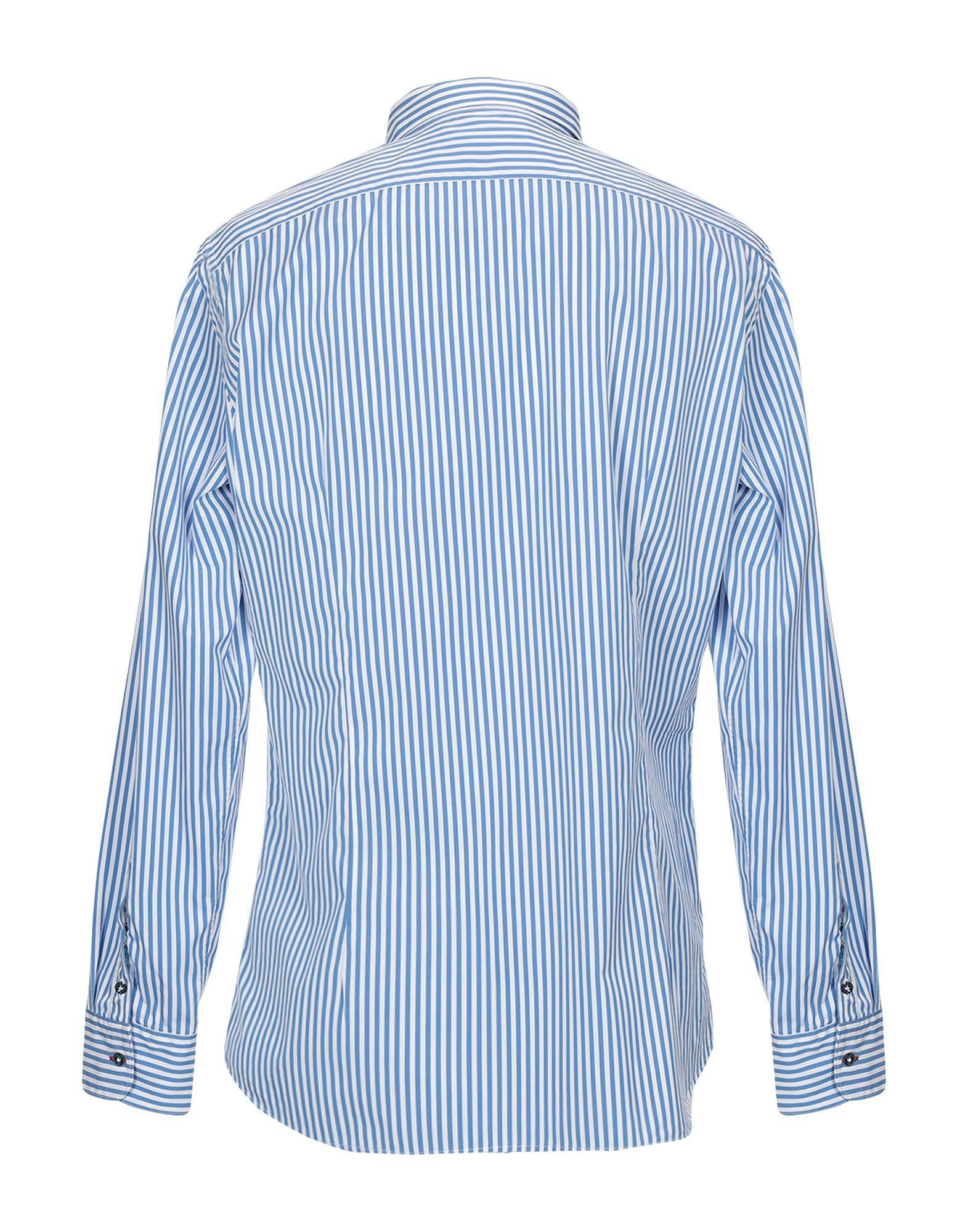Aglini Azure Stripe Cotton Shirt