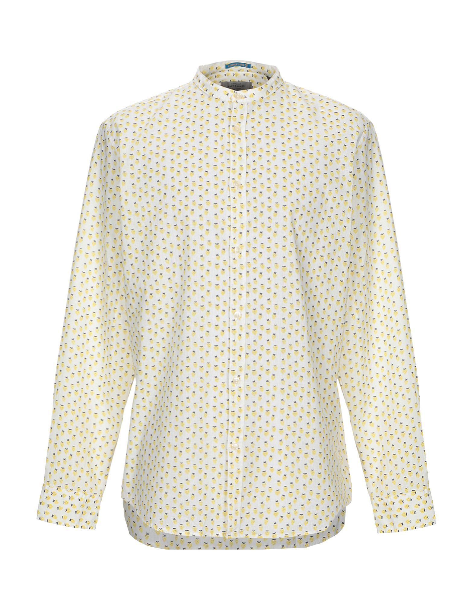 Jack & Jones Originals White Floral Design Linen Shirt