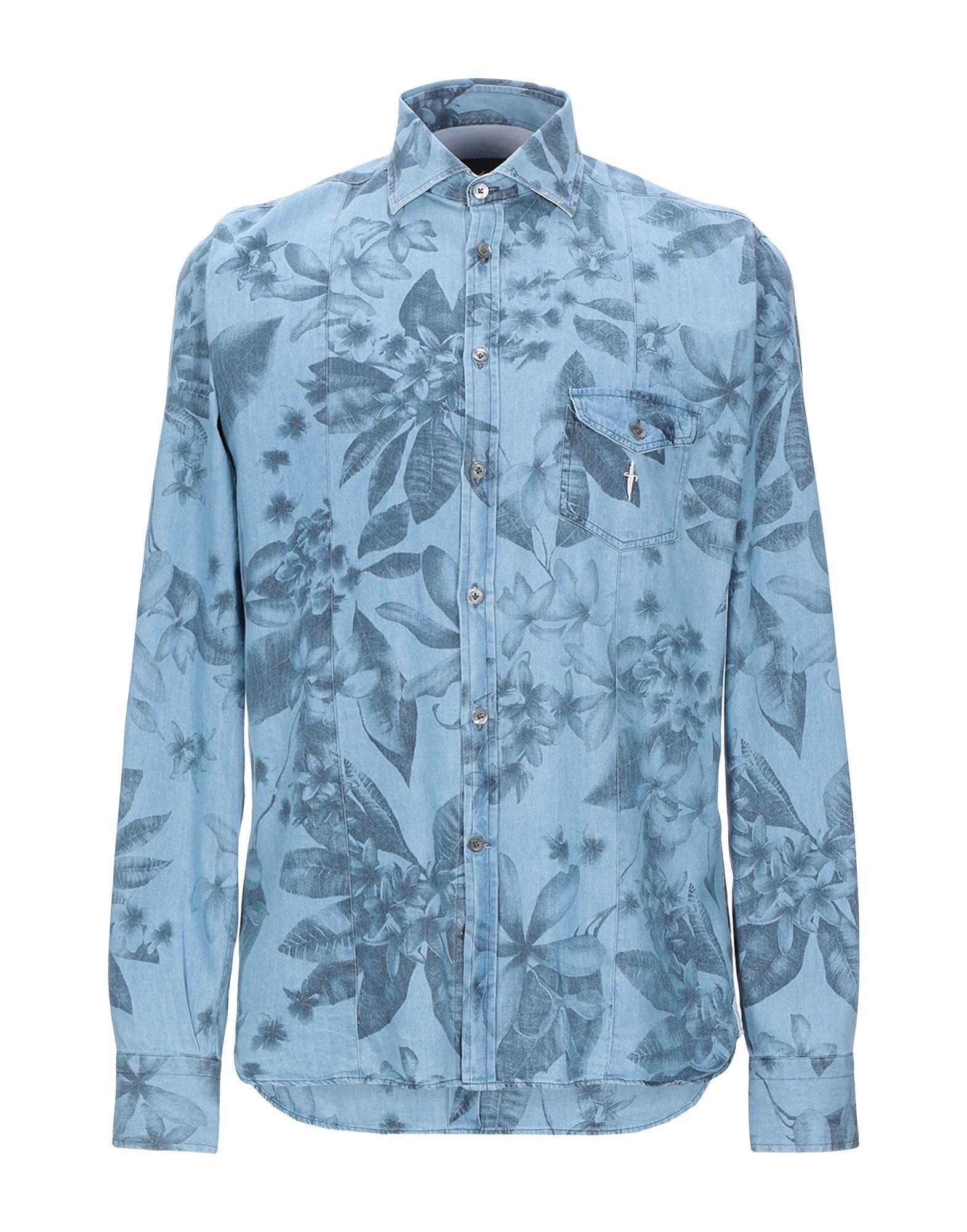 Cesare Paciotti 4Us Sky Blue Print Cotton Shirt