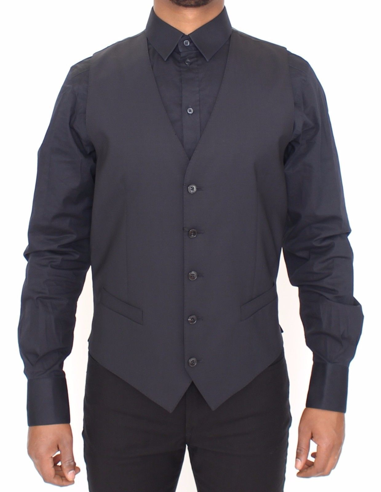 Dolce & Gabbana Blue Wool Stretch Dress Vest Blazer