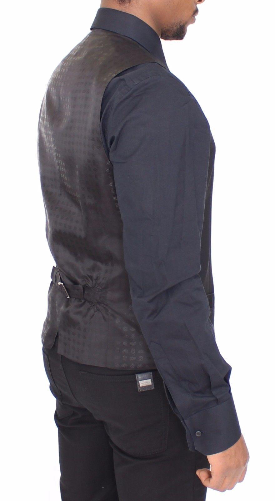 Dolce & Gabbana Black Wool Silk Dress Vest Gilet Jacket