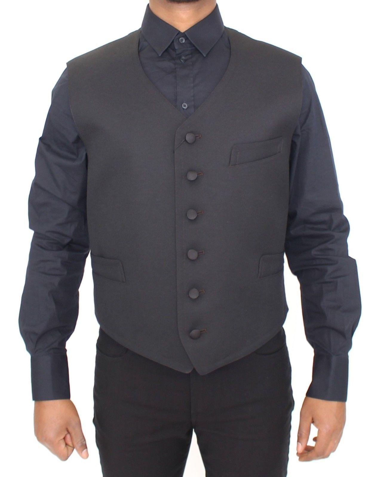 Dolce & Gabbana Black Wool Formal Dress Vest Gilet Jacket
