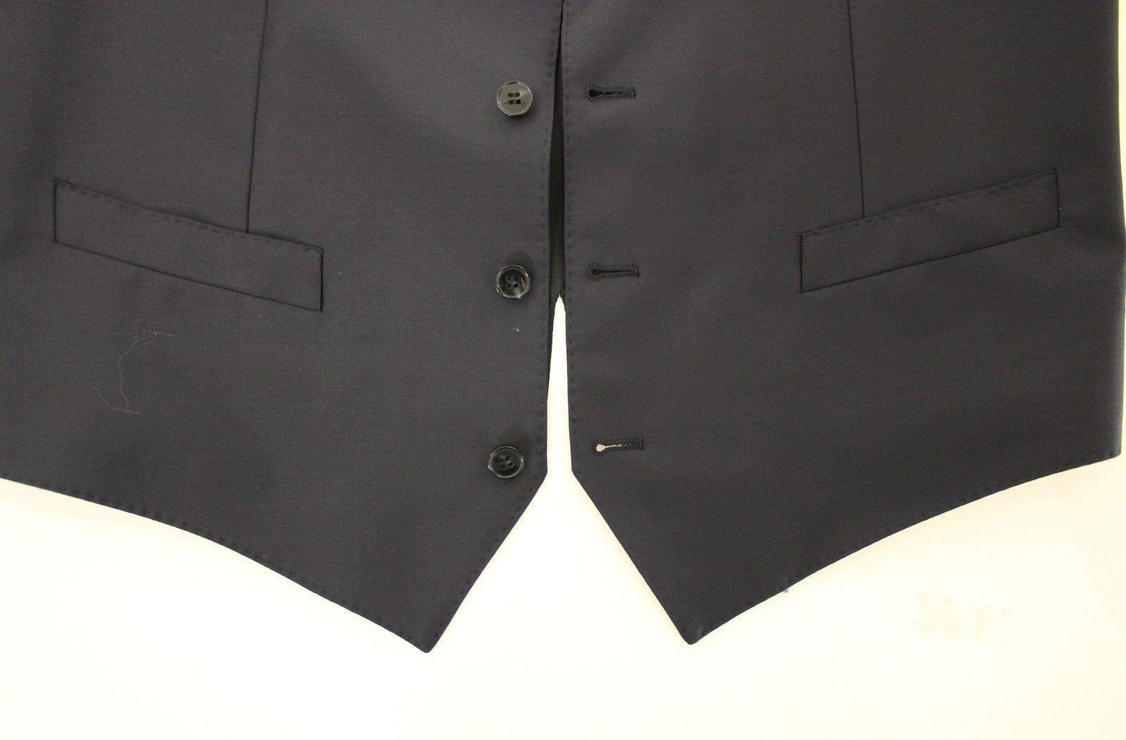 Dolce & Gabbana Blue Wool Formal Dress Vest Gilet Jacket