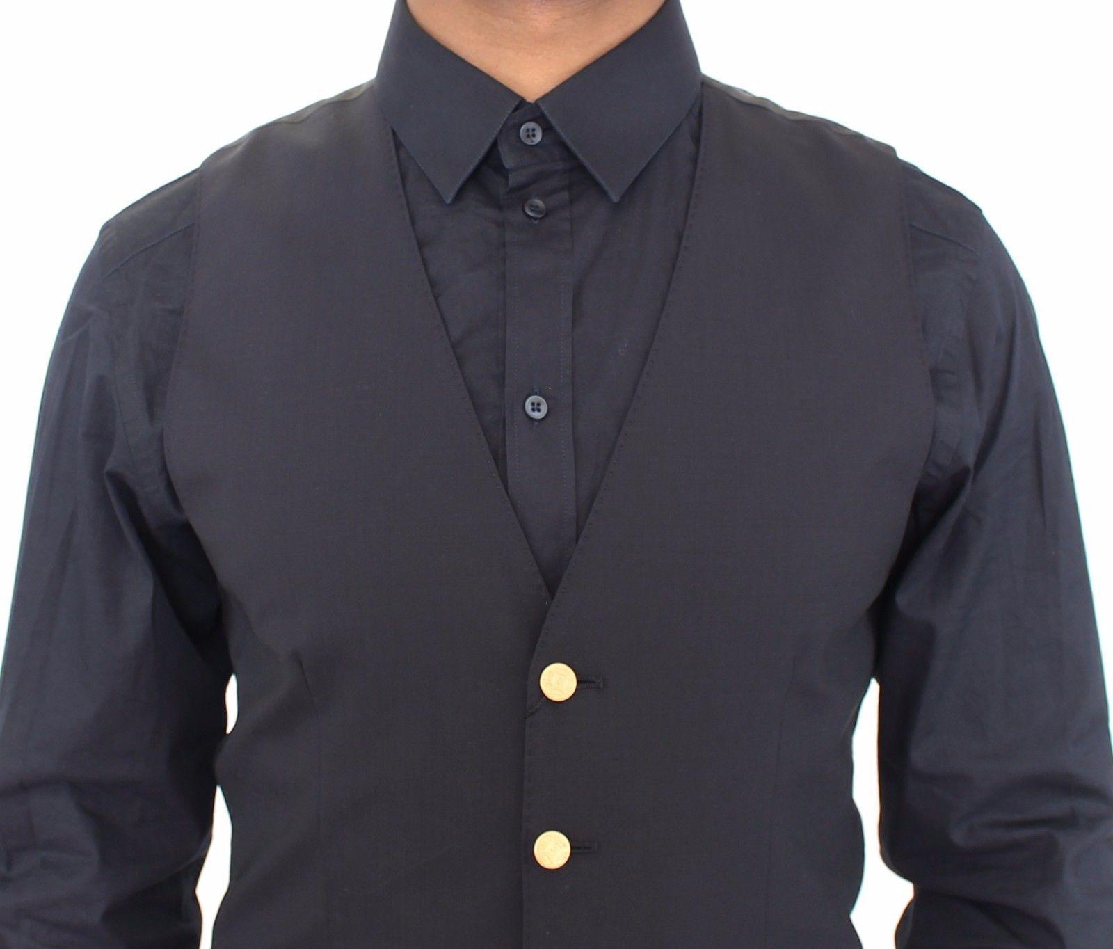 Dolce & Gabbana Blue Wool Stretch Formal Dress Vest Gilet