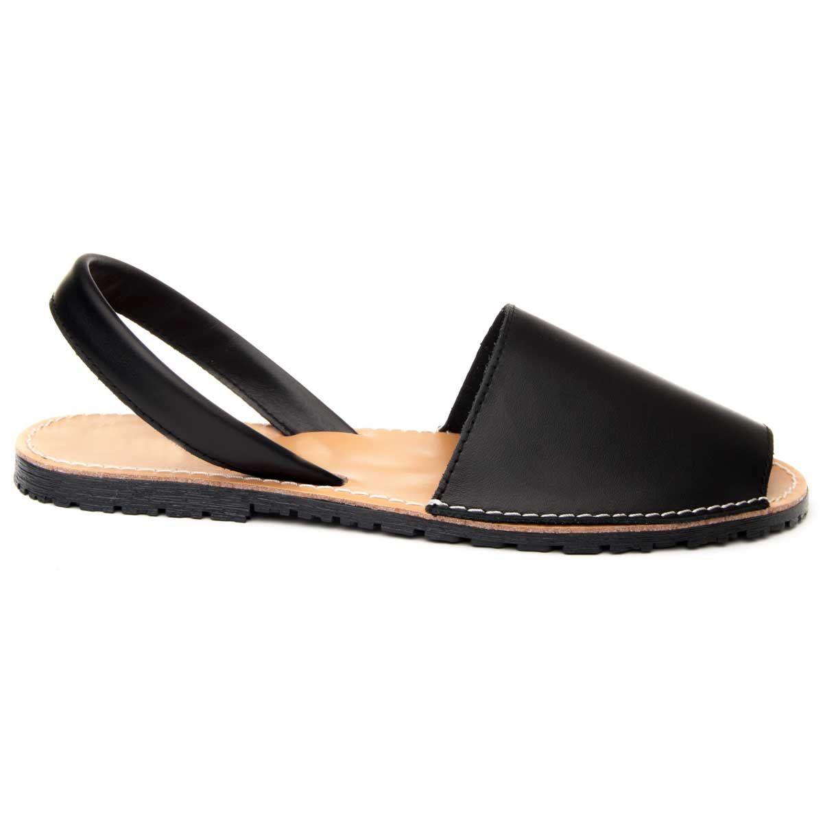 Purapiel Slingback Flat Sandal in Black