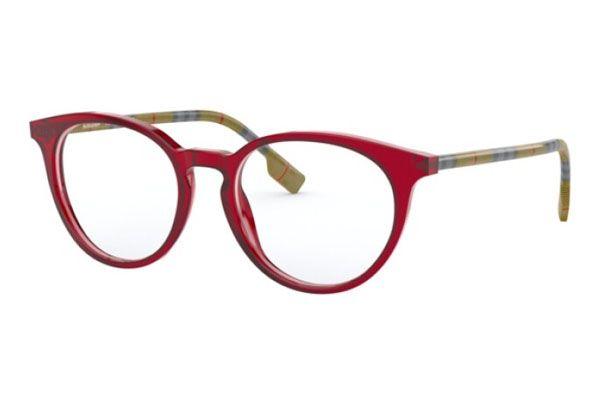 Burberry Round plastic Unisex Eyeglasses Transparent Red / Clear Lens