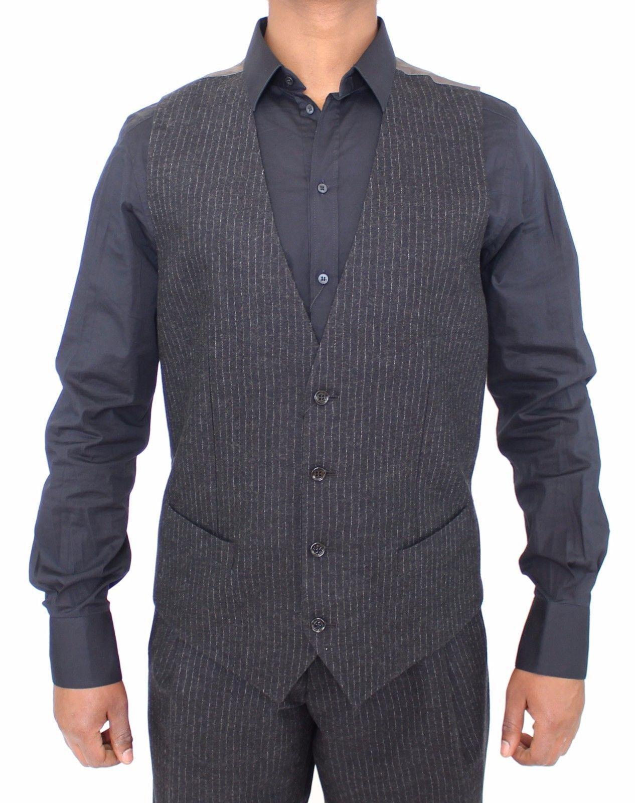Dolce & Gabbana Gray Striped Wool Dress Vest Gilet