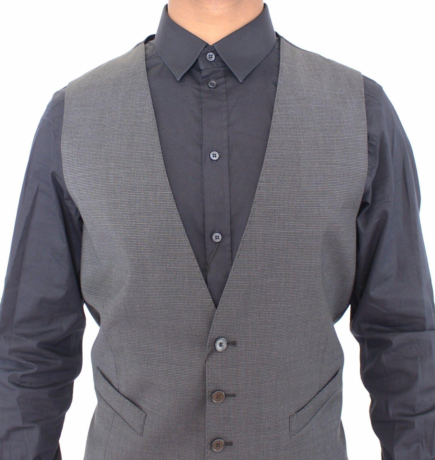 Dolce & Gabbana Gray Stretch Formal Dress Vest Gilet