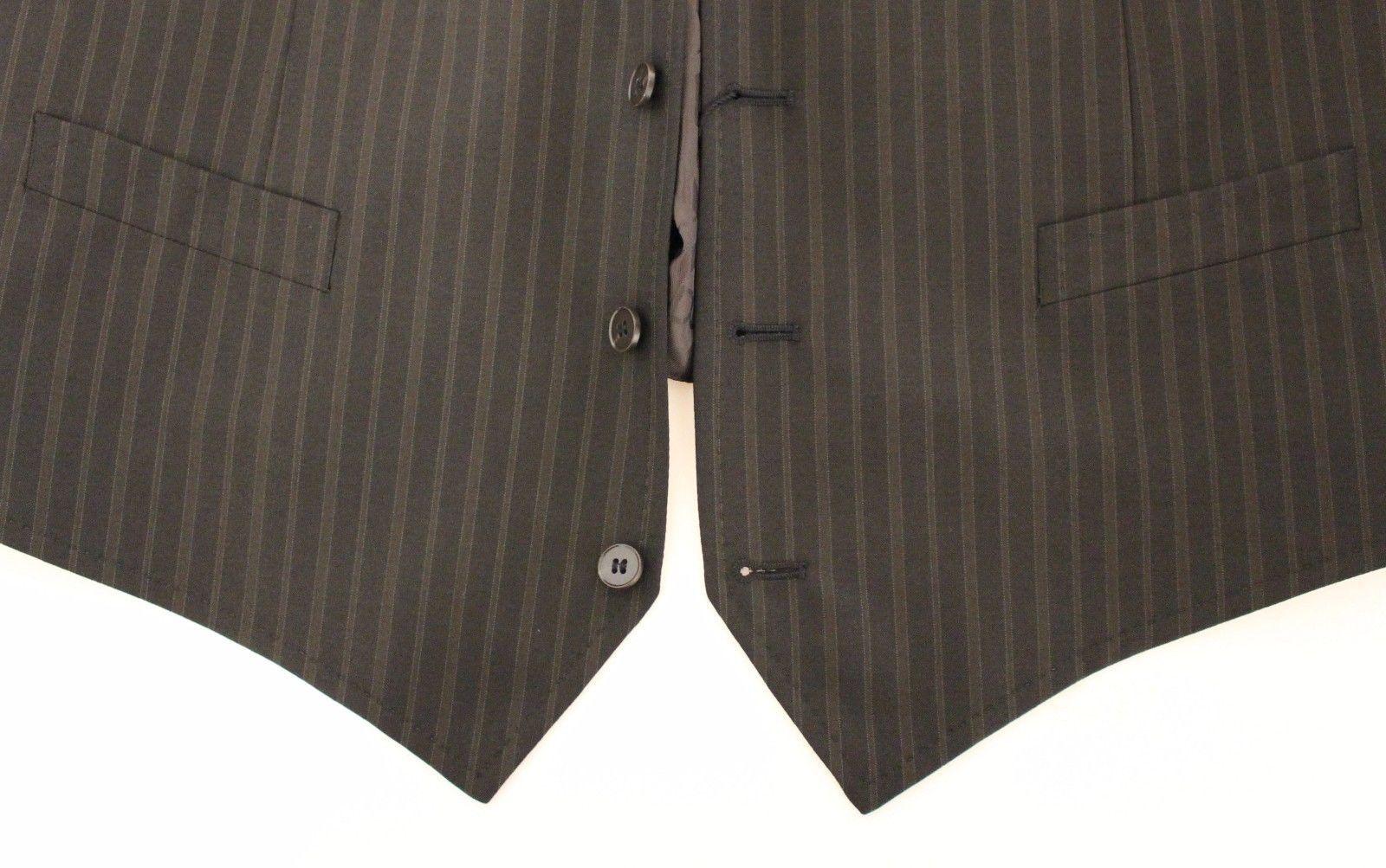 Dolce & Gabbana Brown Striped Stretch Dress Vest Gilet