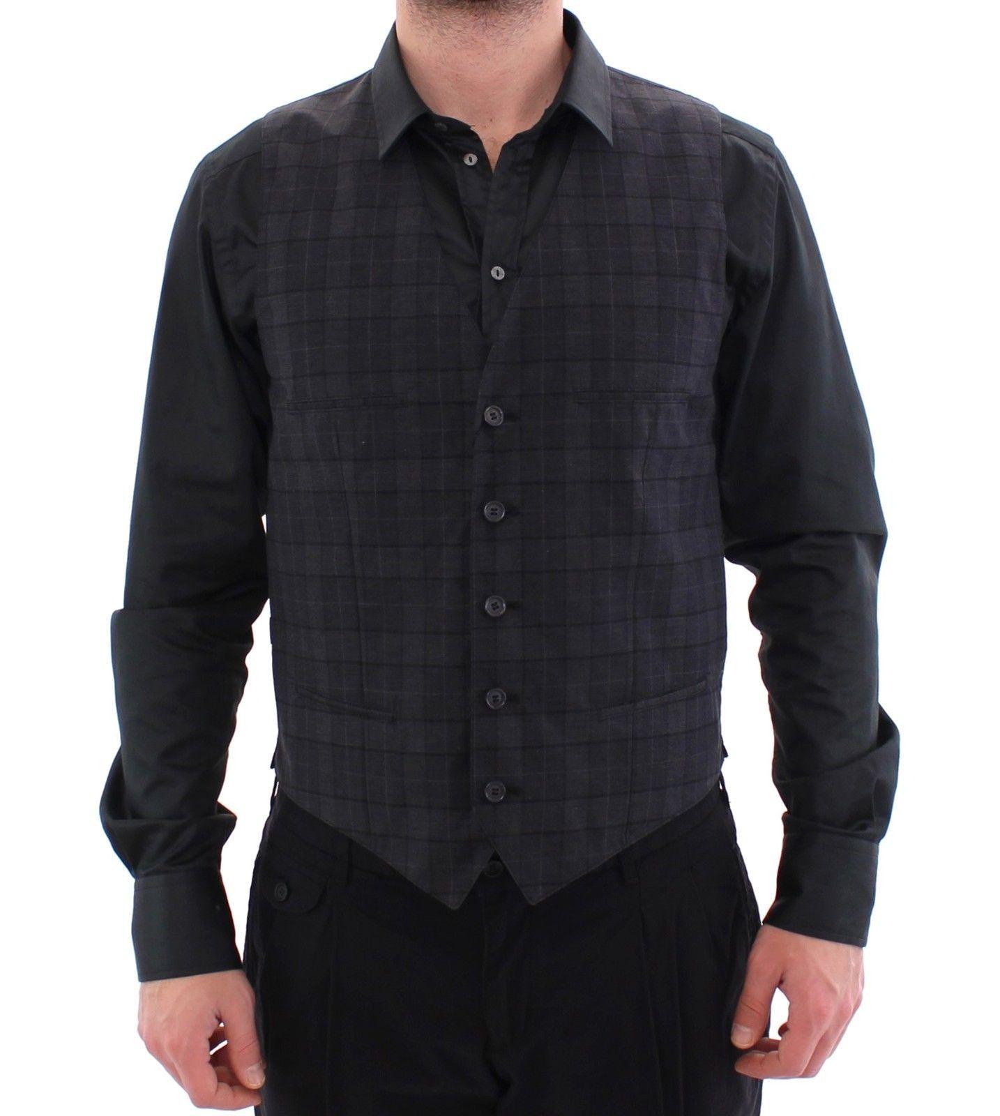 Dolce & Gabbana Gray Checkered Formal Dress Vest Gilet