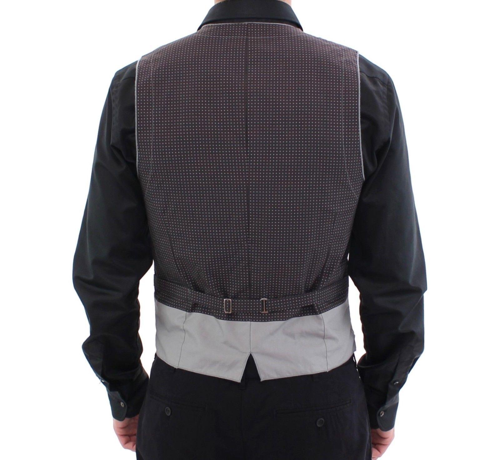 Dolce & Gabbana Gray Polka Dot Dress Vest Gilet Weste