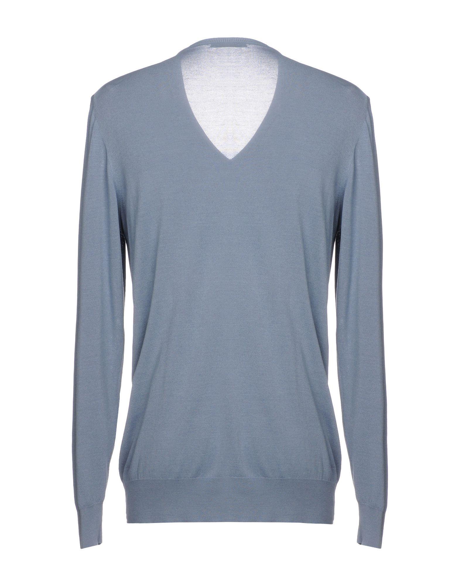 Alpha Studio Pastel Blue Silk Knit V Neck Jumper