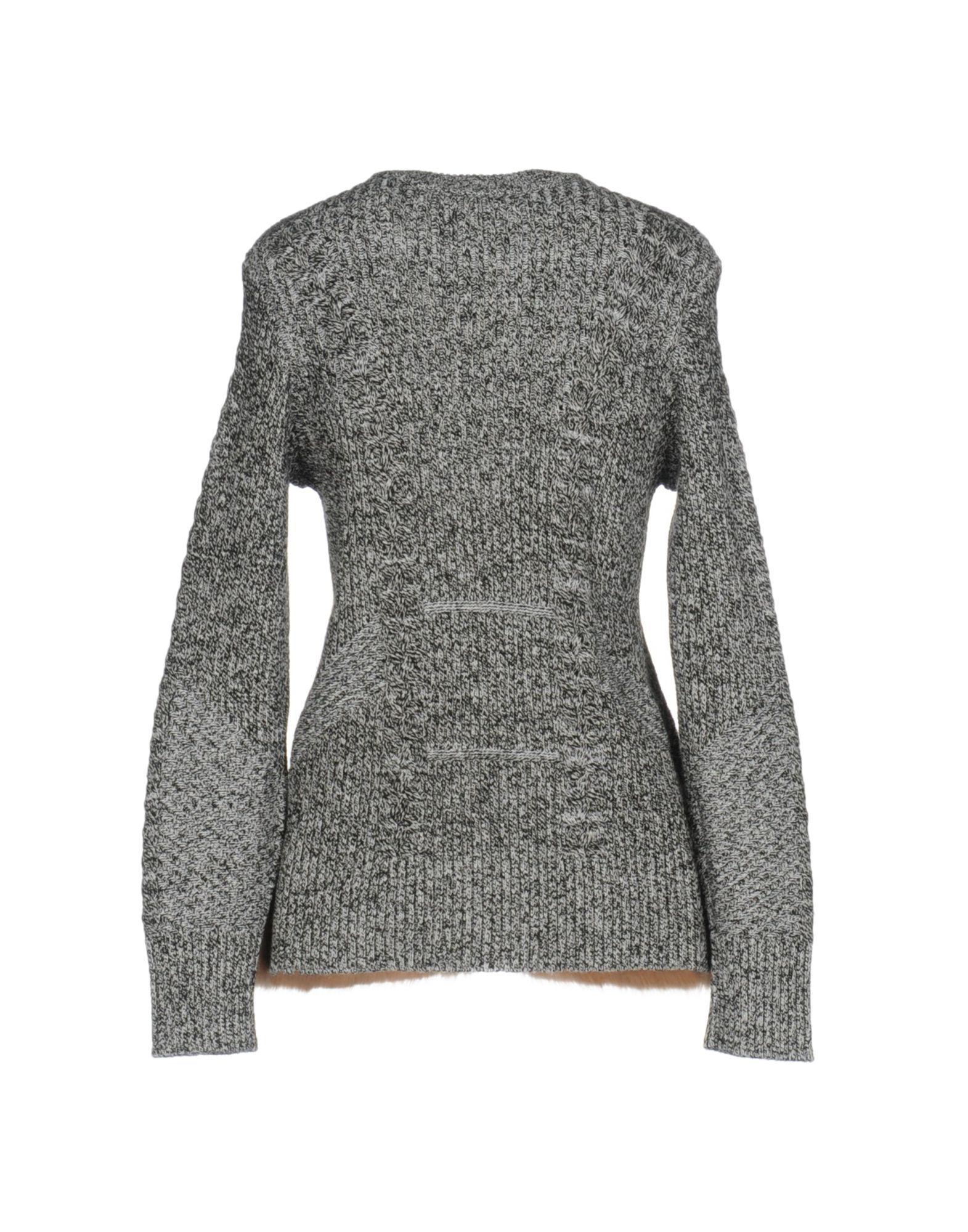Opening Ceremony Black Knit Jumper With Faux Fur Hem