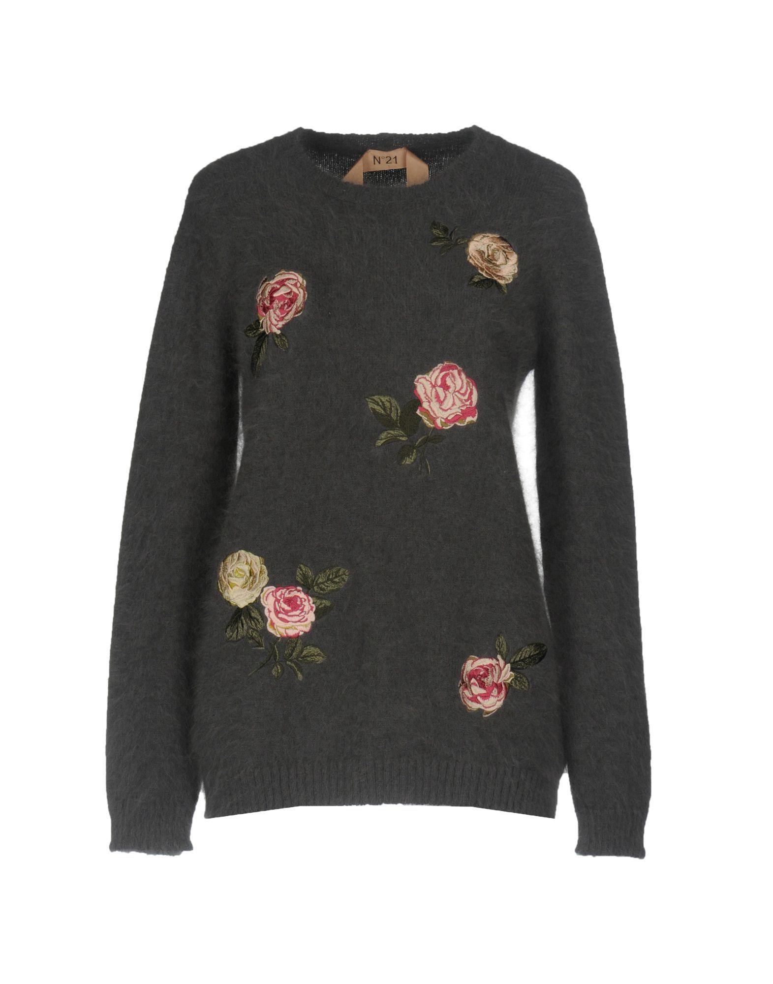 N�21 Lead Angora Knit Floral Design Embroidered Jumper
