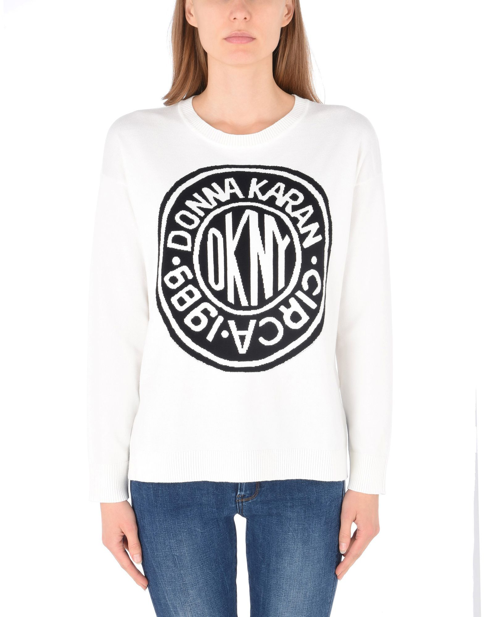 DKNY White Logo Print Jumper