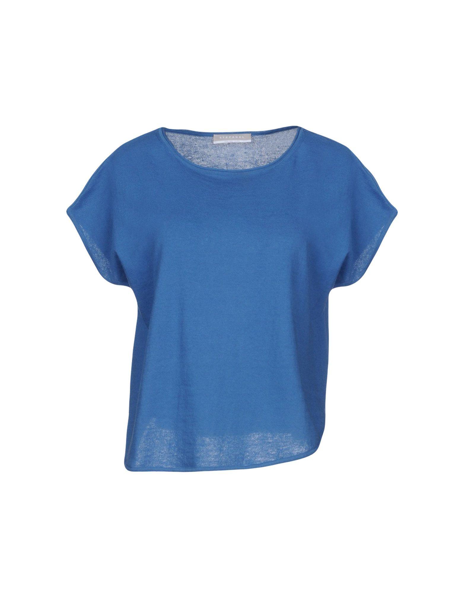 Stefanel Blue Cotton Short Sleeve Knit