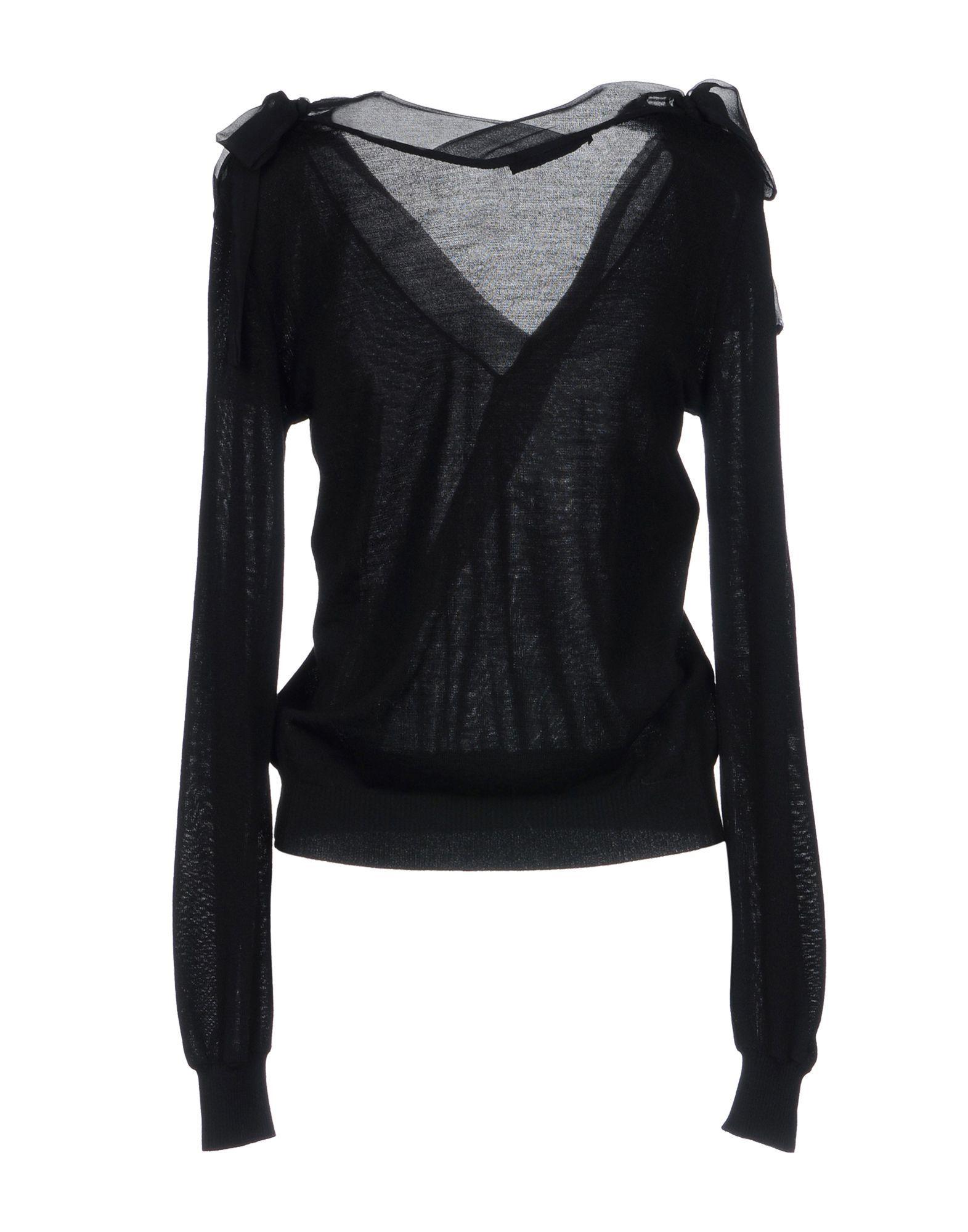Alberta Ferretti Black Virgin Wool And Chiffon Knit
